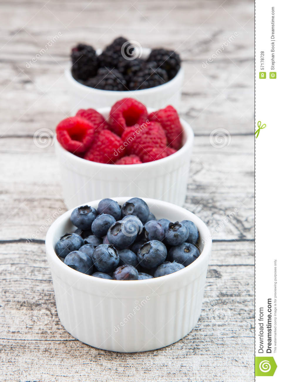 And Raspberries Stock Blueberries Bowl Blackberries