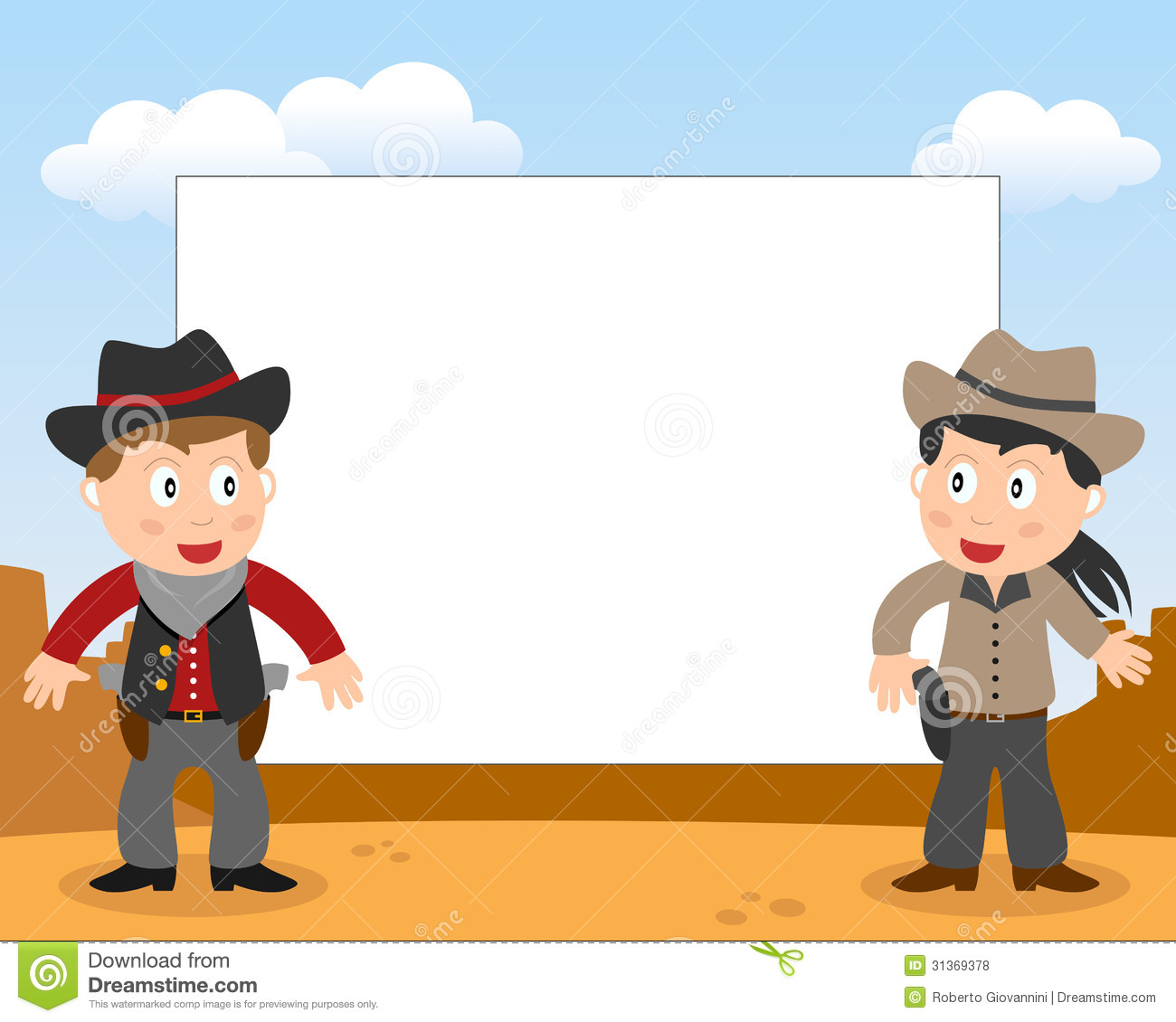 Wild West Cowboys Photo Frame Royalty Free Stock Photos