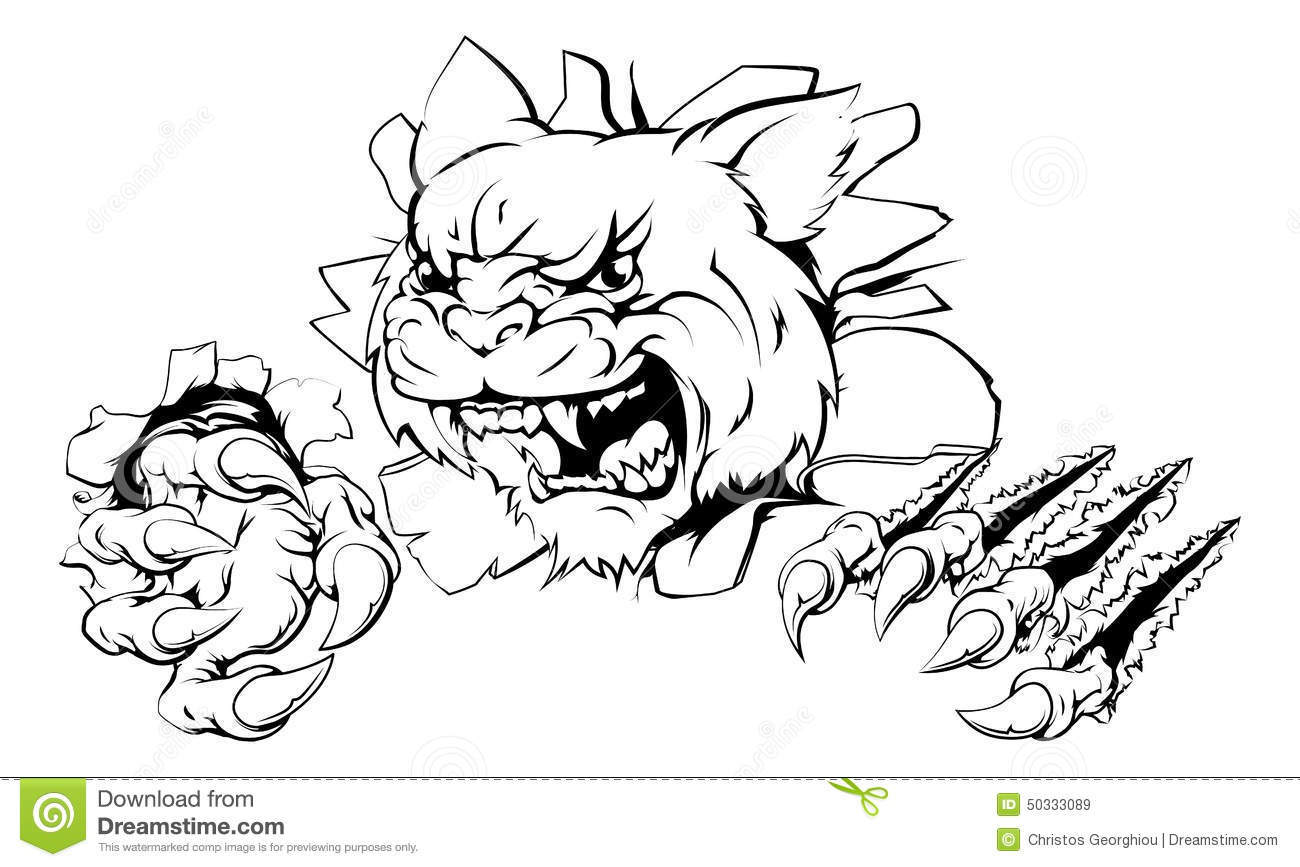 Wildcat Ripping Through Wall Stock Vector