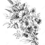 Wildflowers Bunch And Sitting Butterfly Stock Illustration Illustration Of Floral Background 160290737