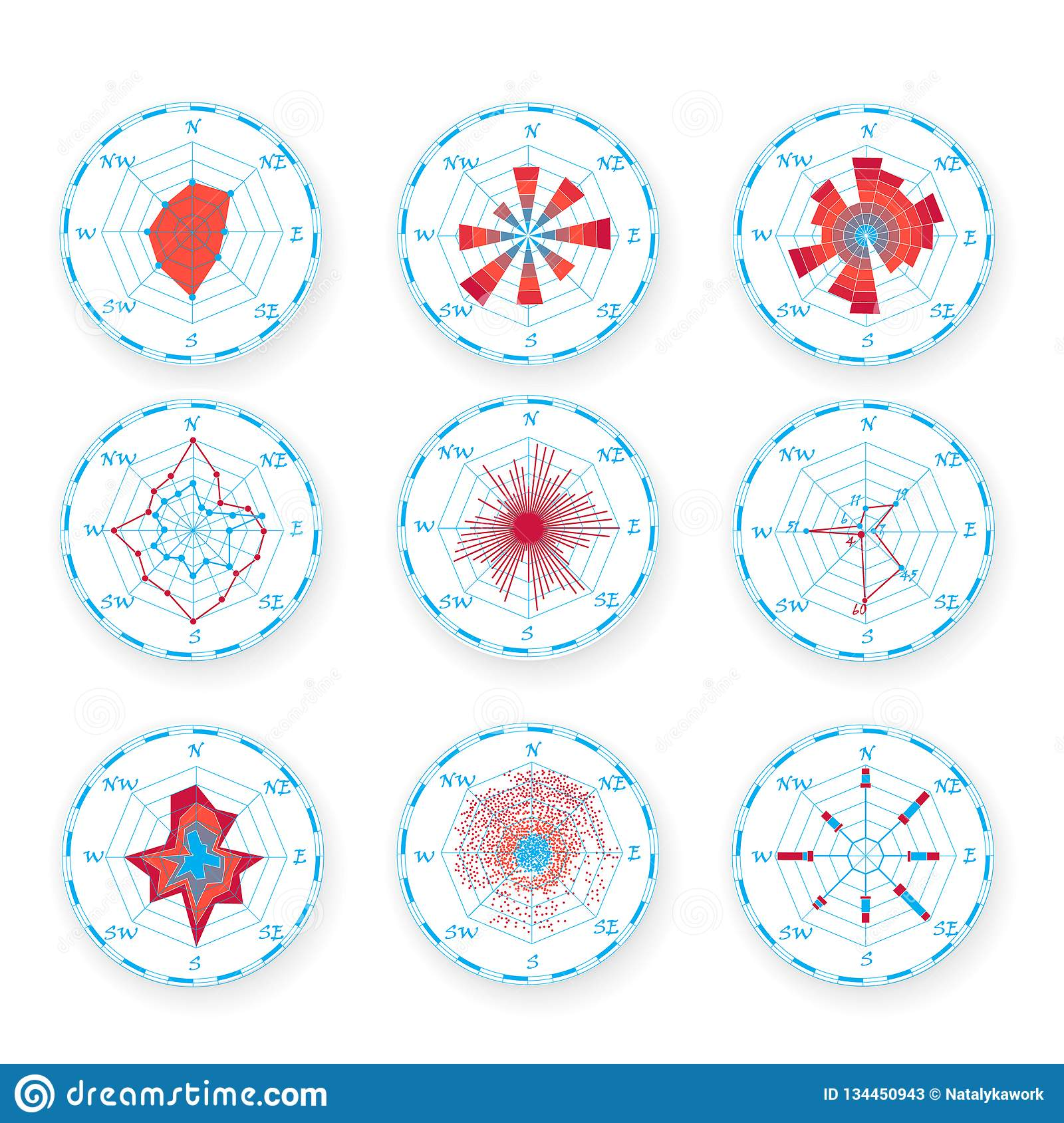 Windrose Chart Set Compass Rose With Light Background