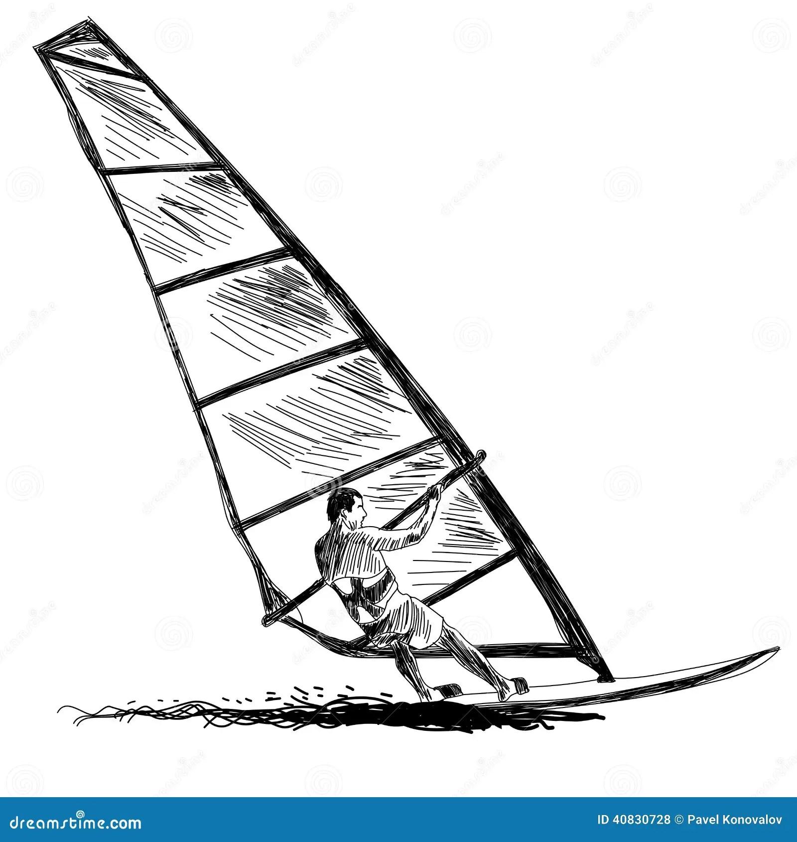 Windsurfing Sketch Stock Vector Illustration Of Nature
