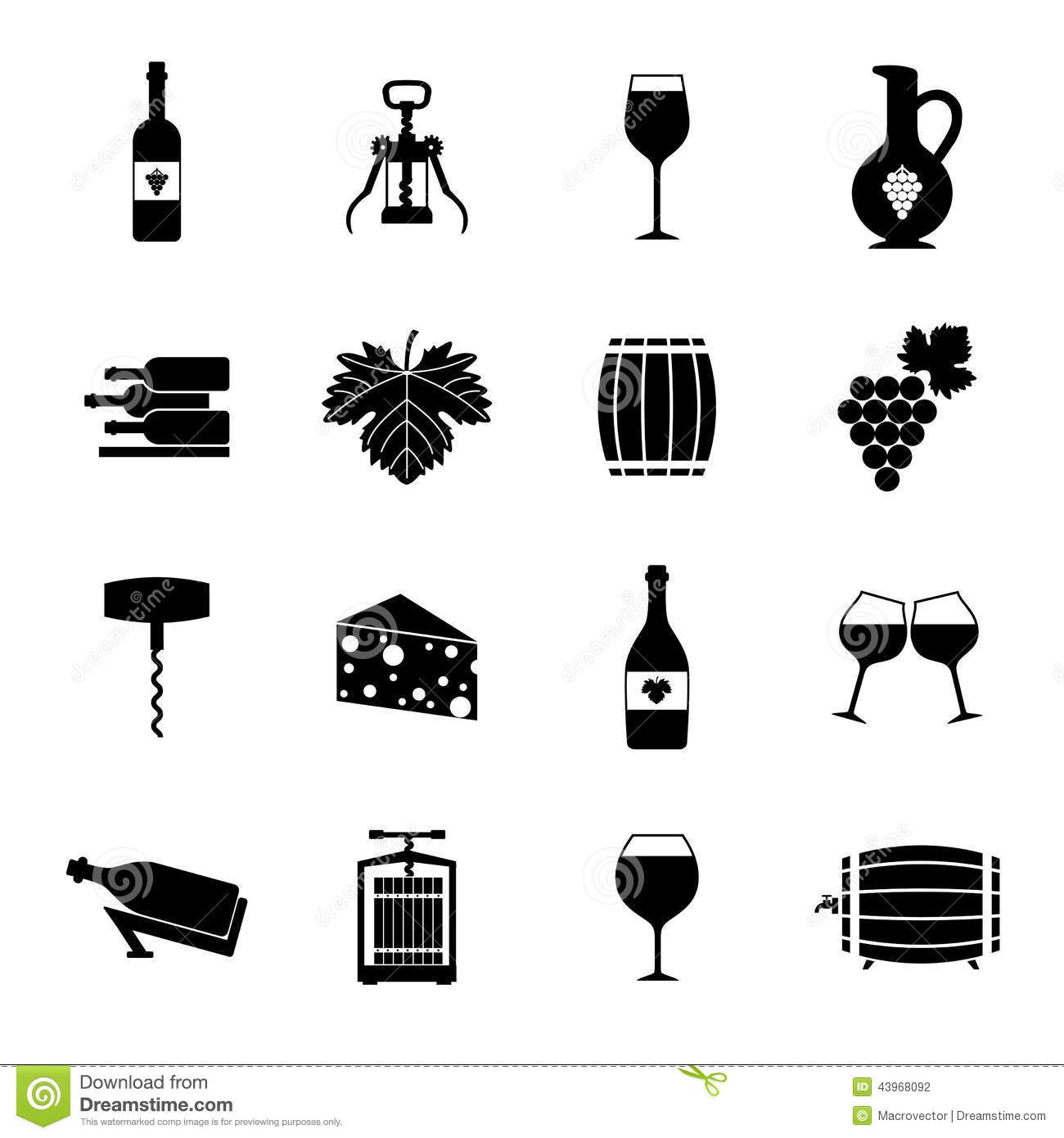 Wine Icons Set Black Stock Vector Image Of Mobile