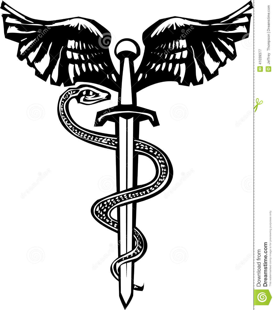 Winged Sword And Snake Stock Vector Illustration Of