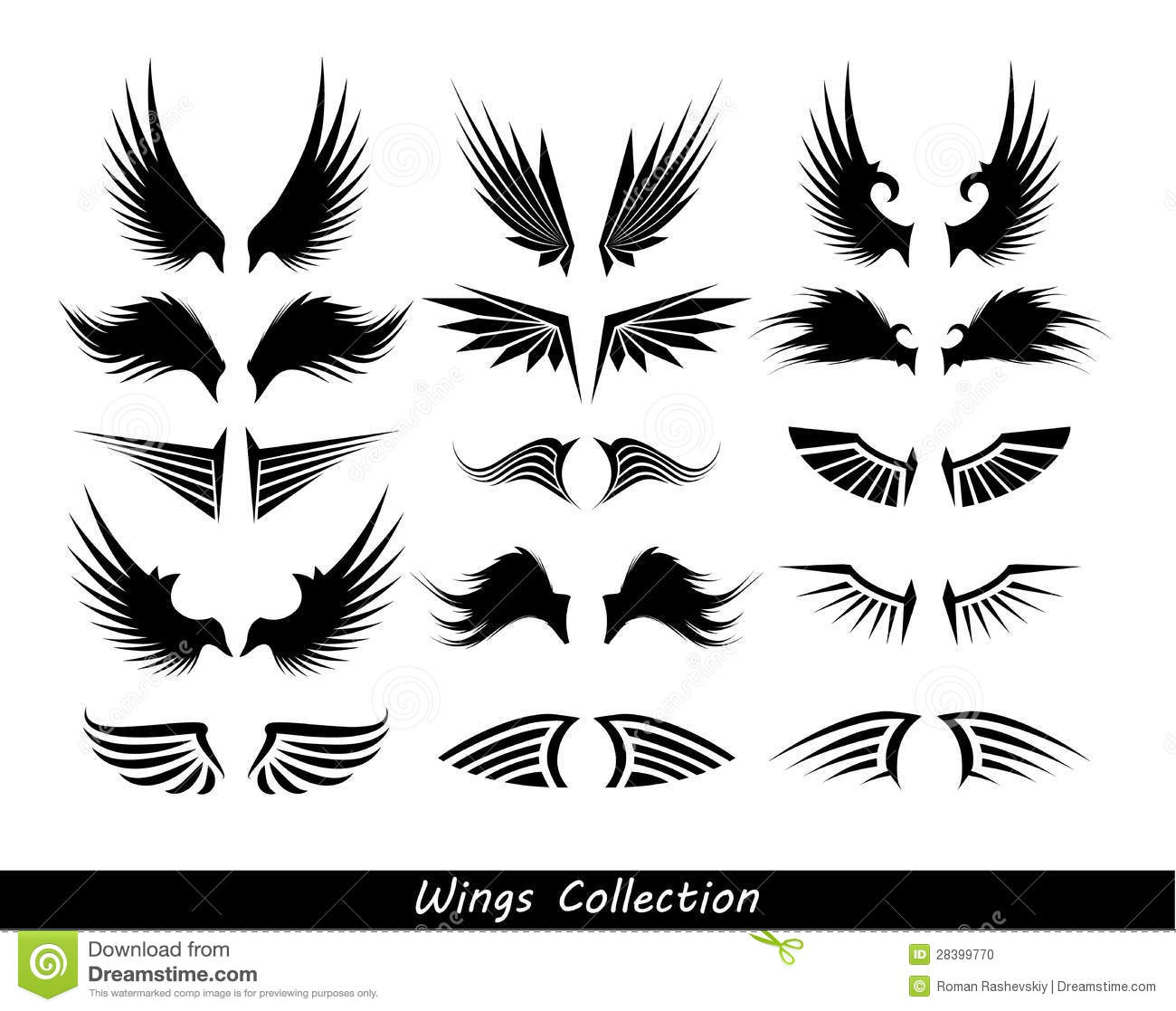Wings Collection Set Of Wings Stock Photo