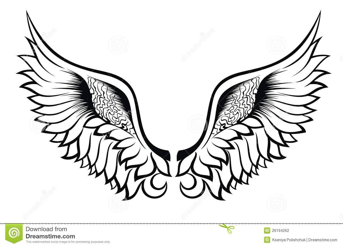Wings Tattoo Design Stock Photography