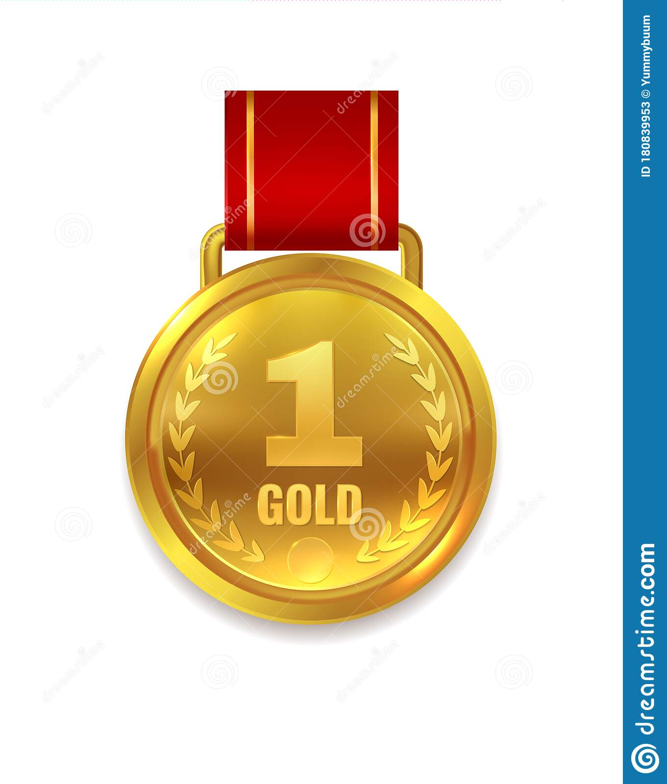 Winner Gold Medal Prize With Red Ribbon For Certificate