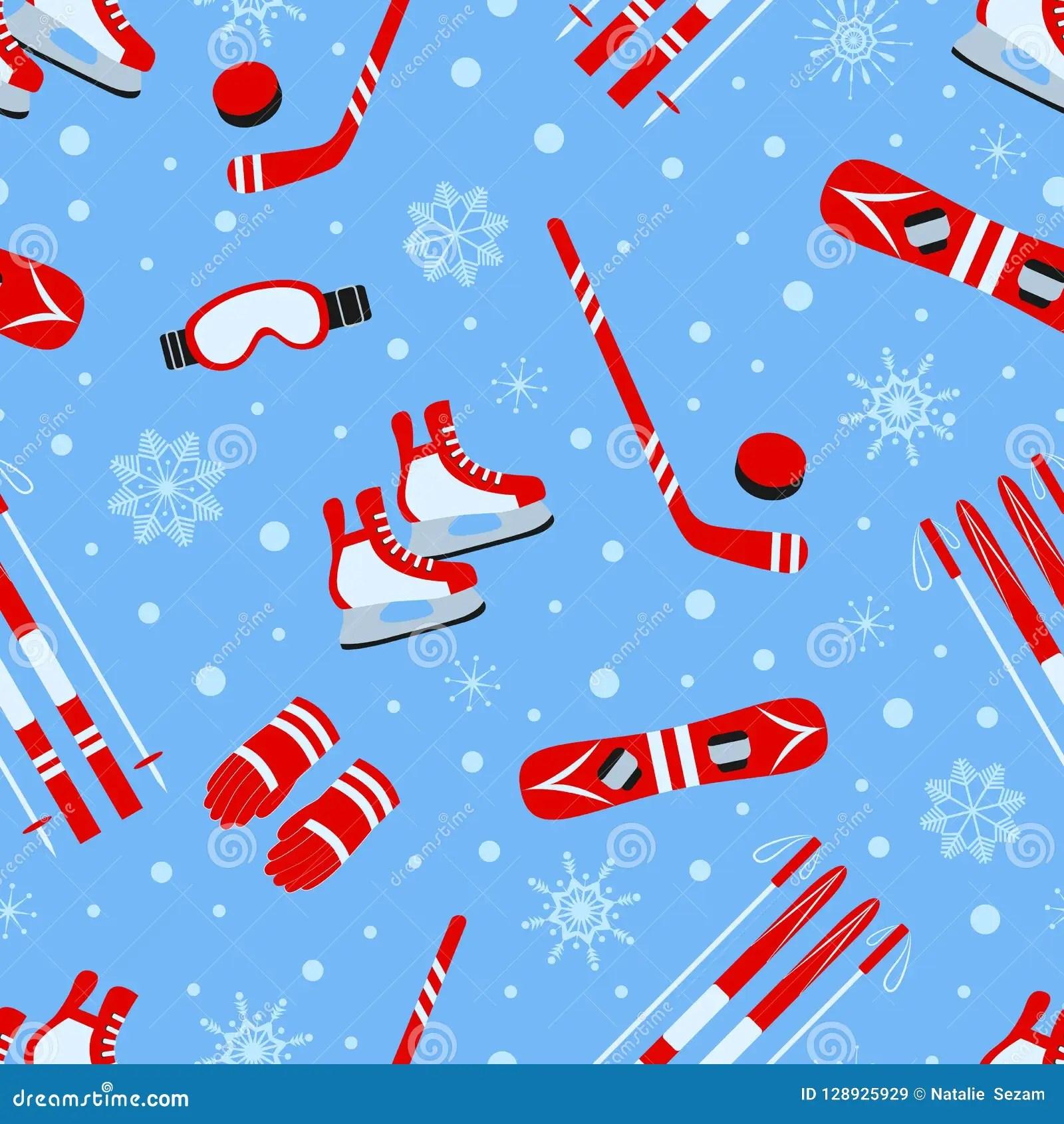 Winter Activities Seamless Pattern Vector Illustration