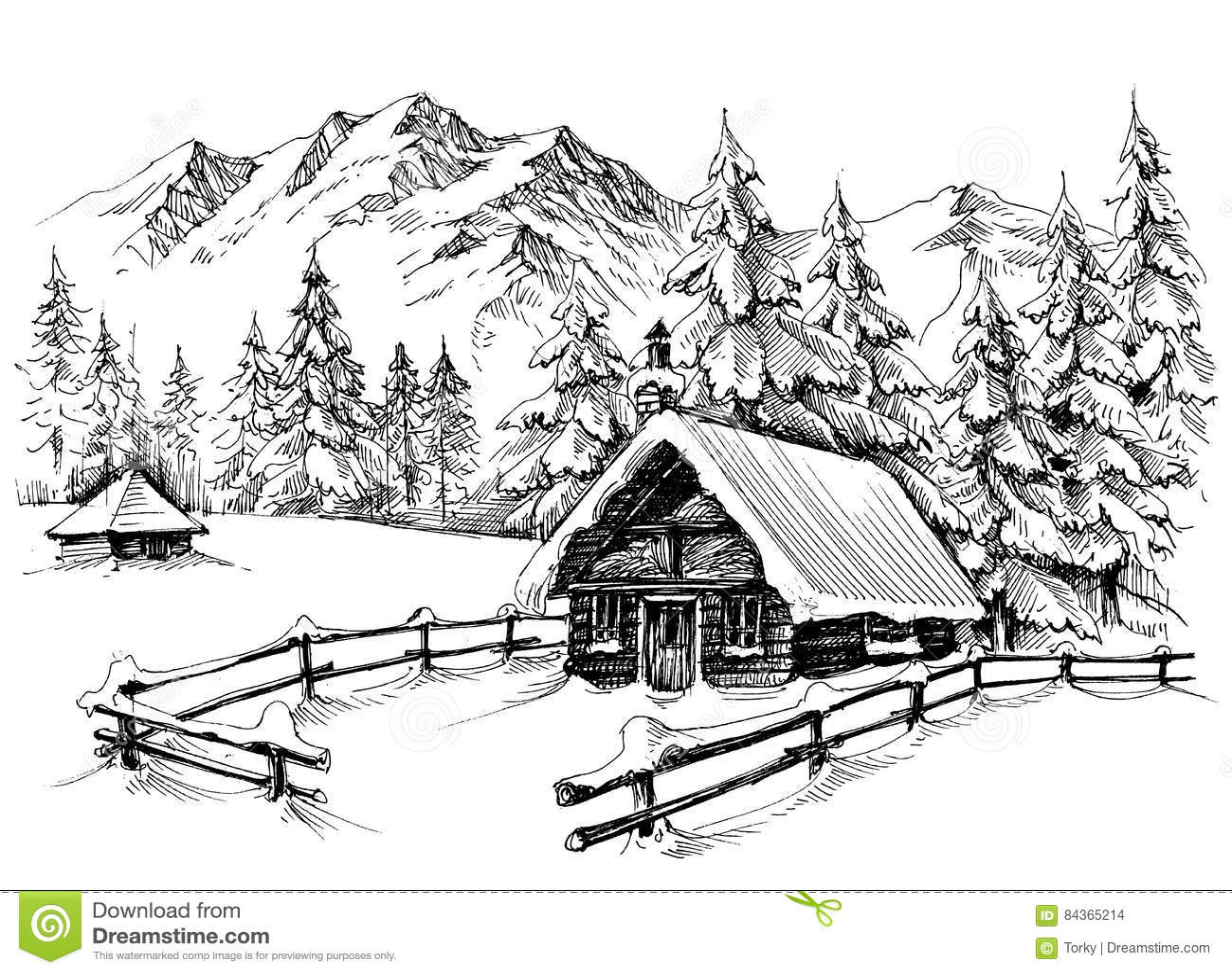 Winter Cabin Drawing Stock Vector Illustration Of Idyllic