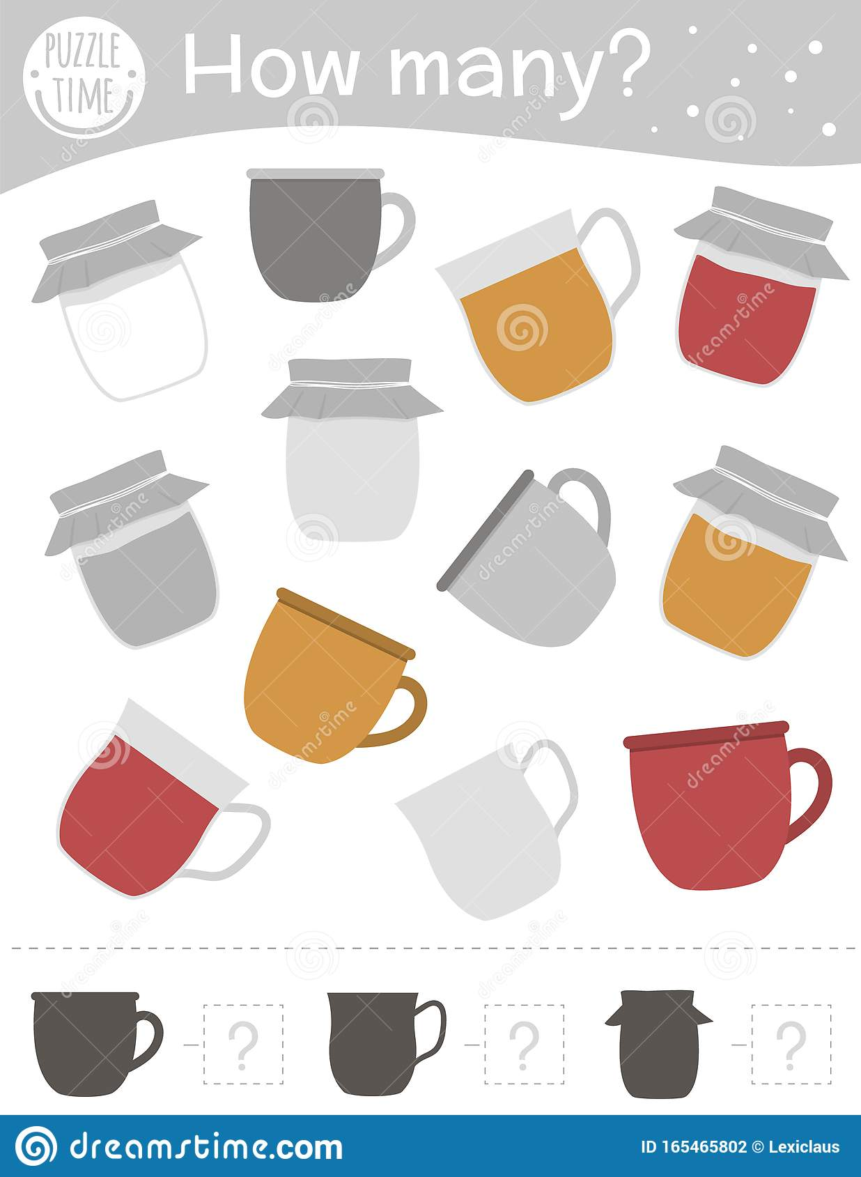 Winter Counting Game With Cup Mug And Jam Jar Winter