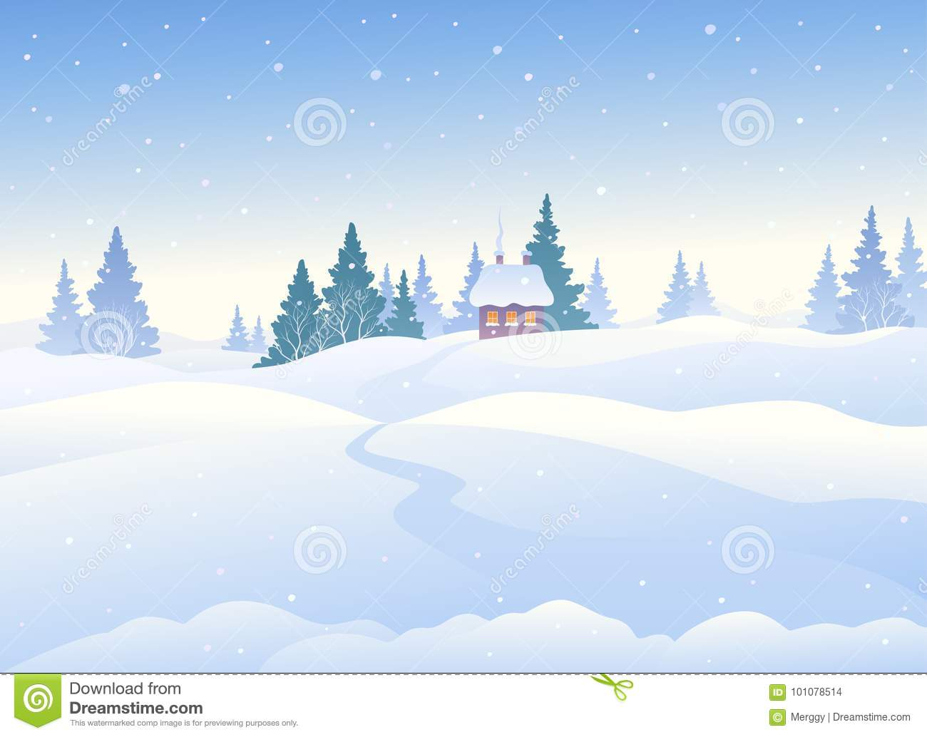 Winter Day Background Stock Vector Illustration Of