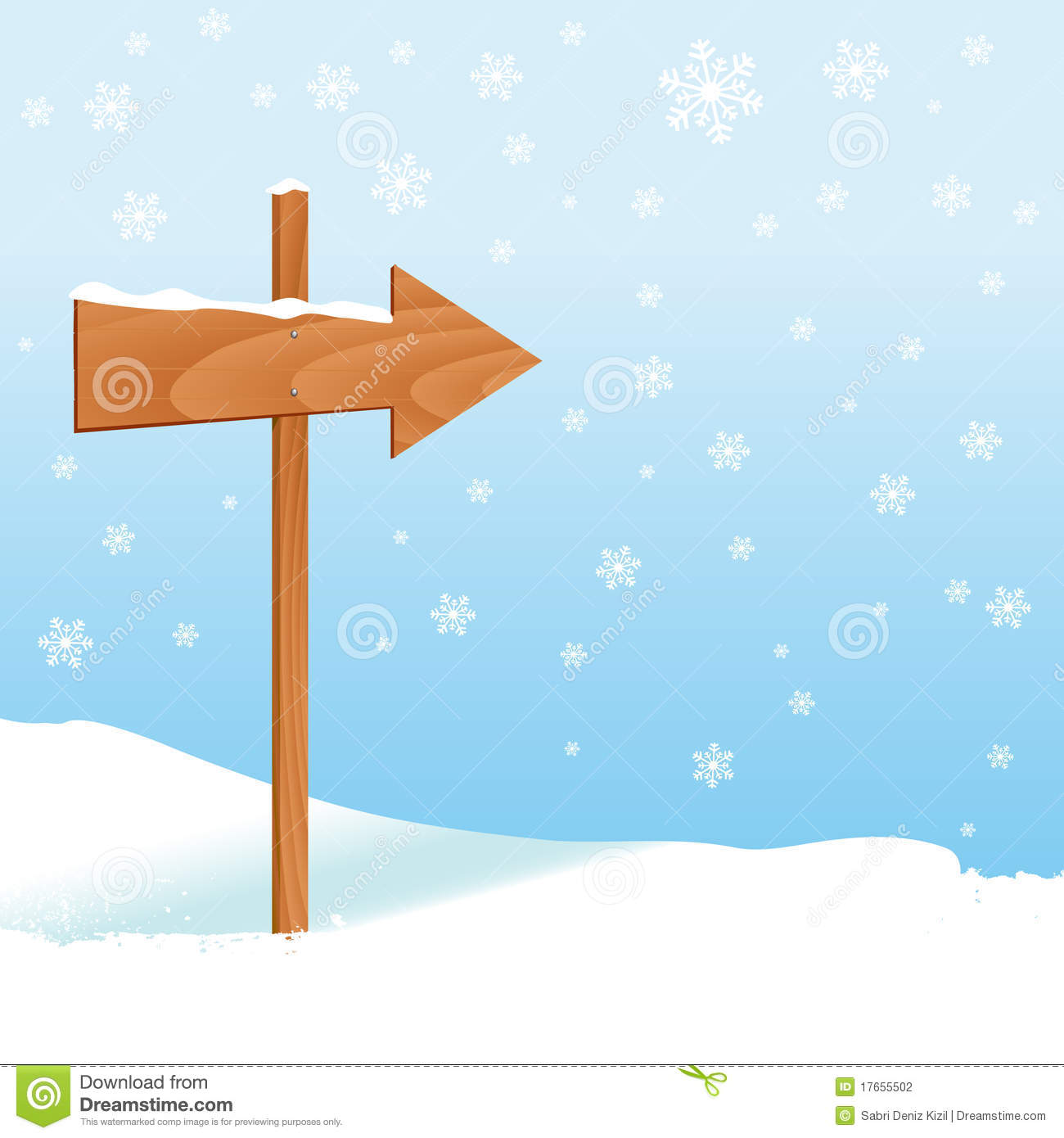 Winter Design With Direction Sign Stock Vector