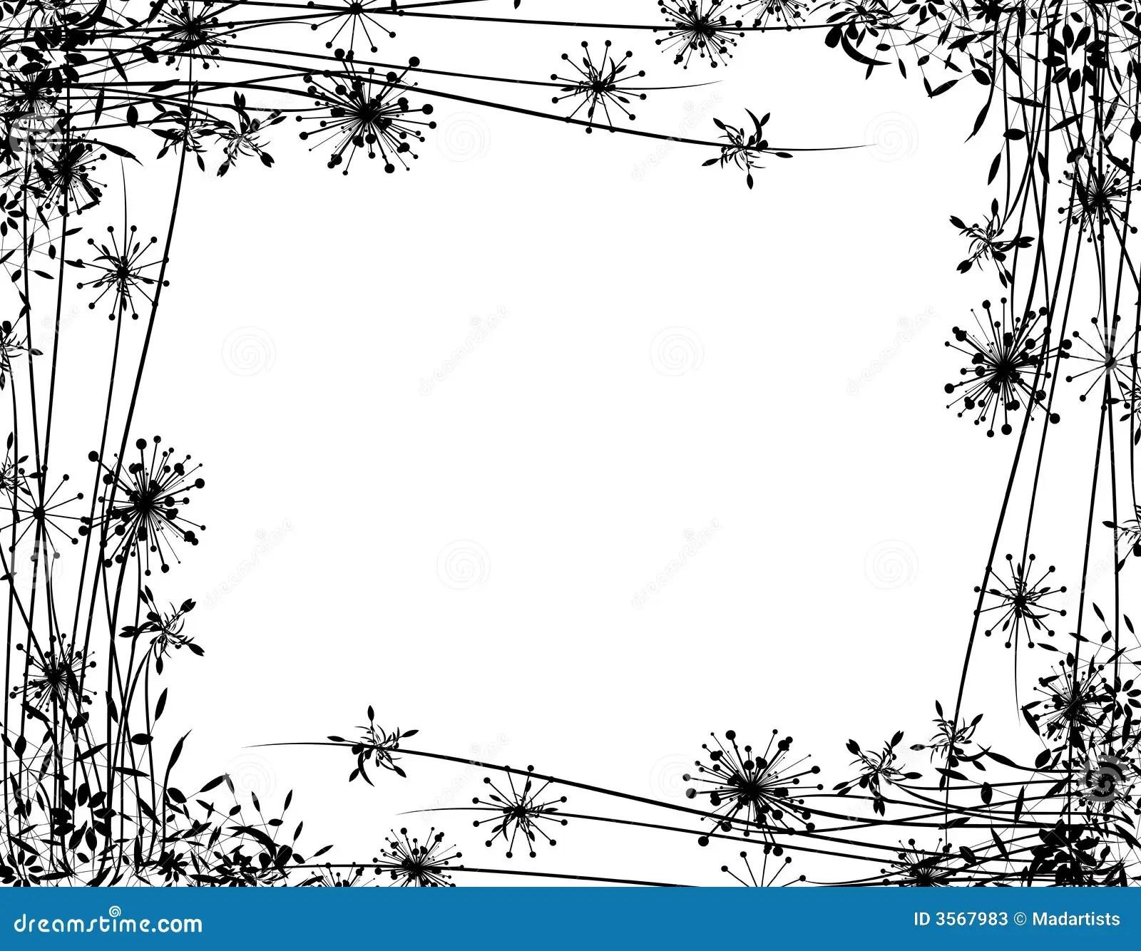 Winter Flower Garden Border Stock Illustration