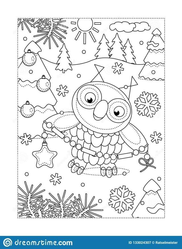 Coloring Page with Owl Decorating Christmas Tree Stock Vector