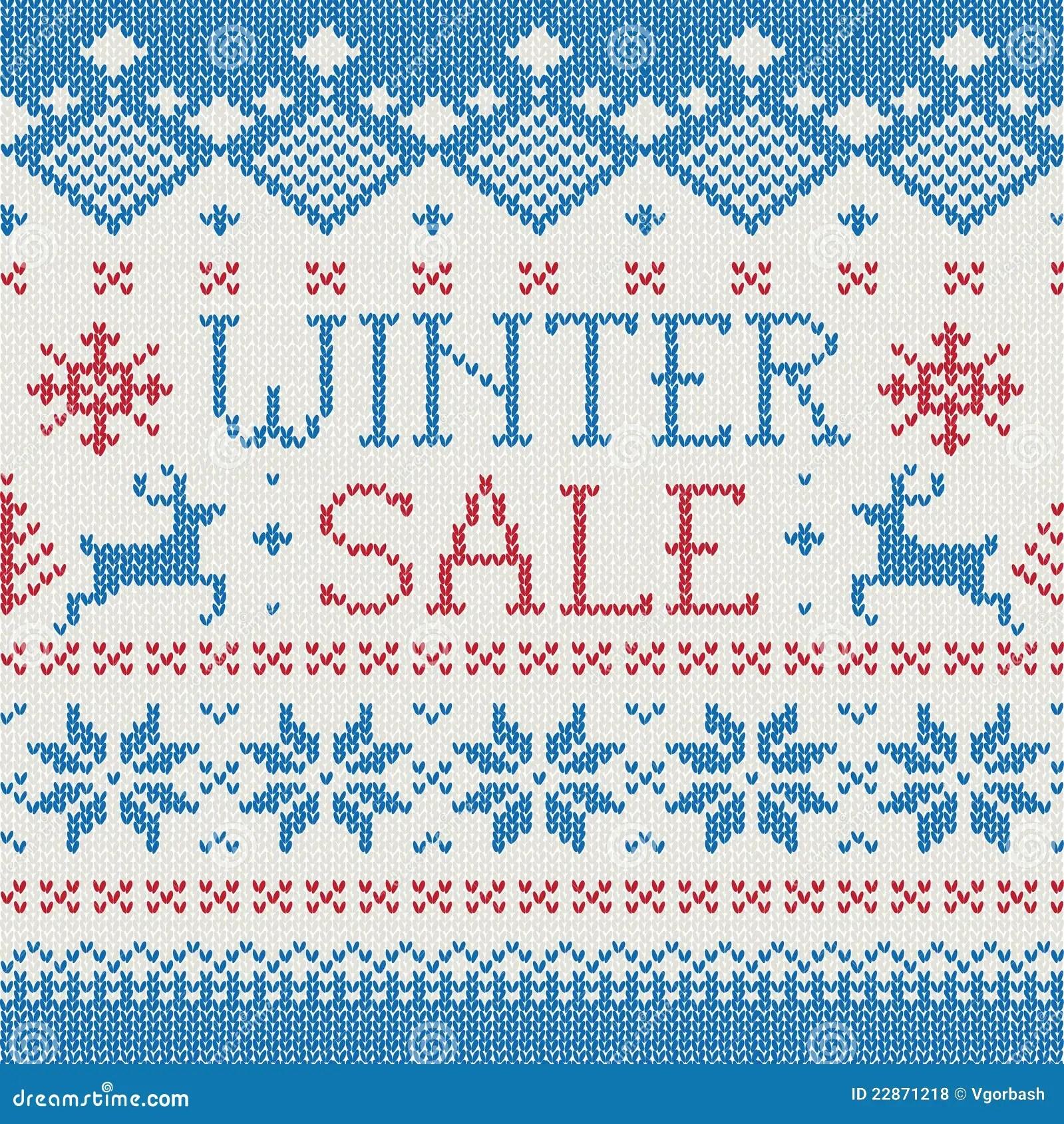 Winter Sale Scandinavian Knitted Pattern Royalty Free