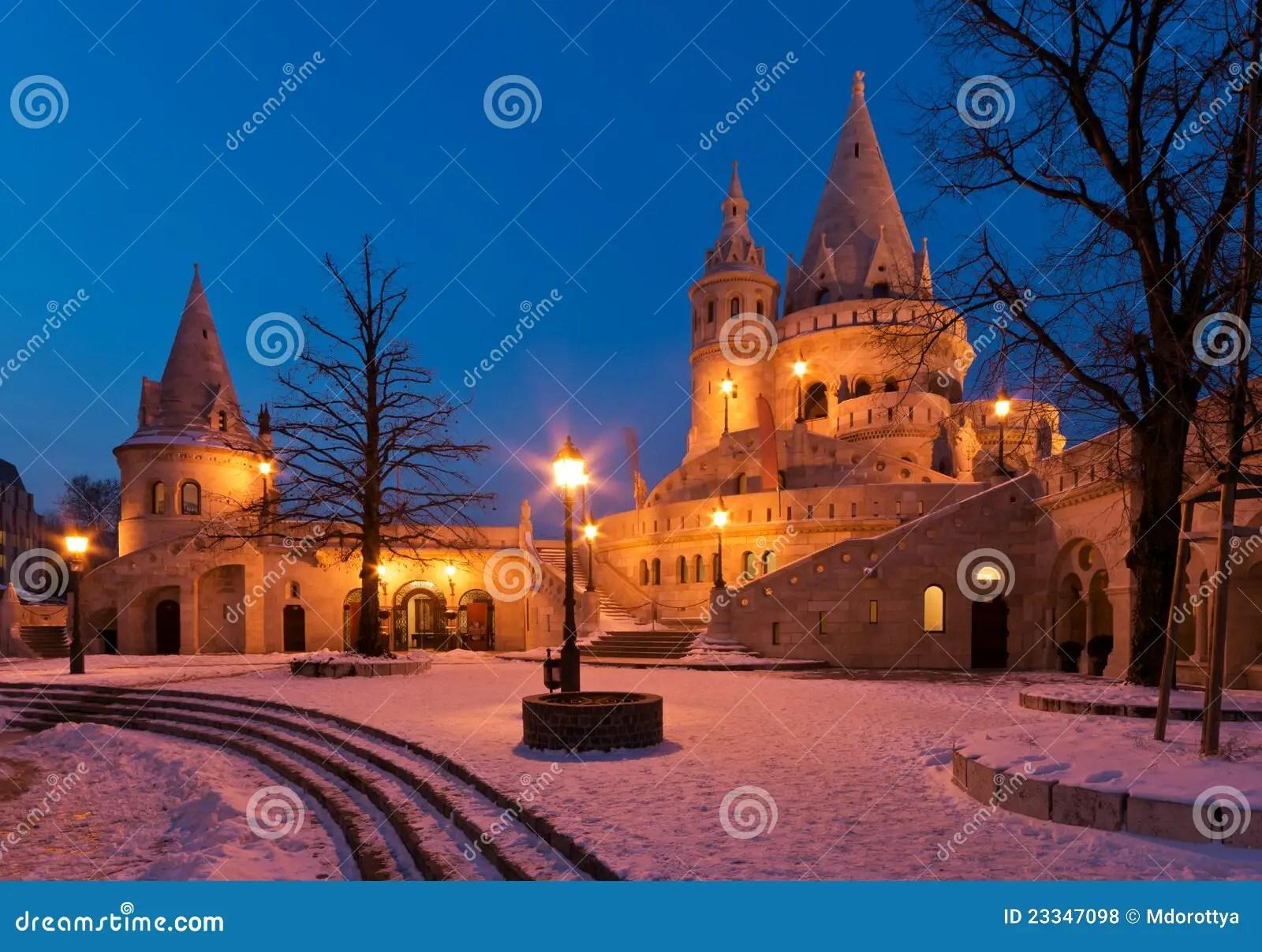 Winter Scene Of The Fishermans Bastion Budapest Royalty
