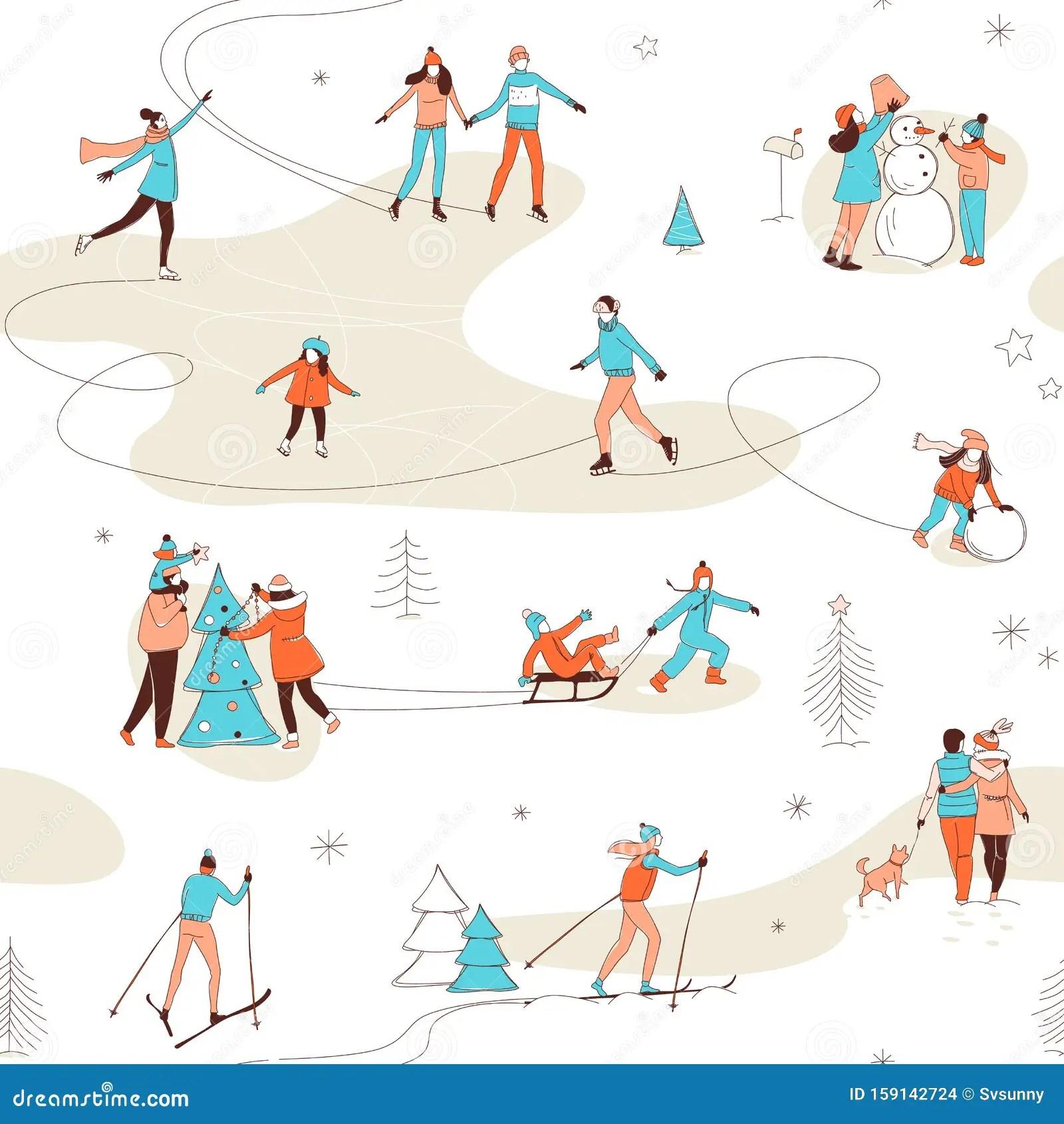 Winter Sport Activities Seamless Pattern Background