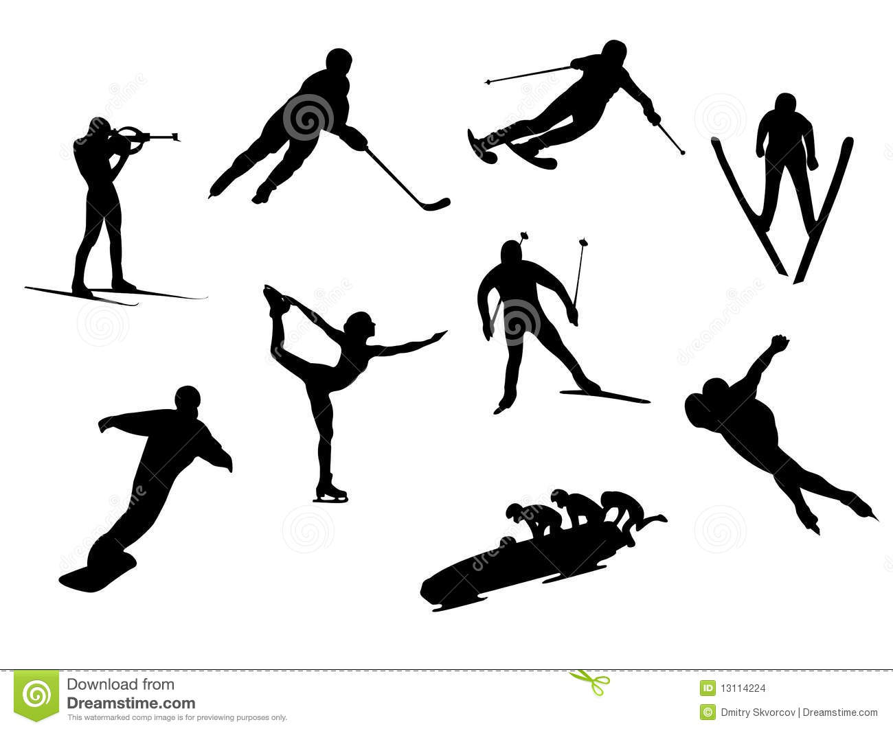 Winter Sport Silhouettes Stock Images