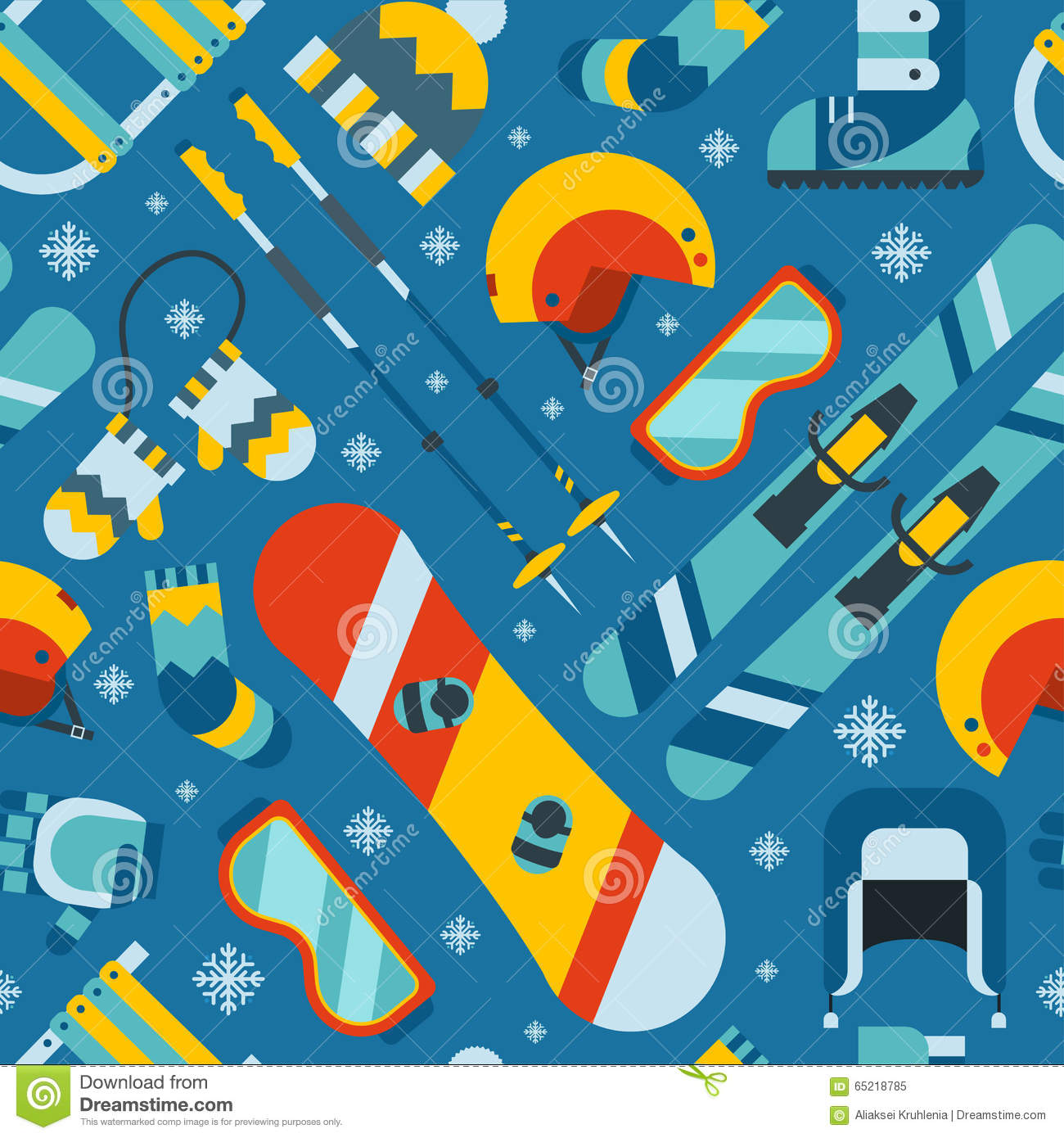 Winter Sports And Activity Seamless Pattern Background