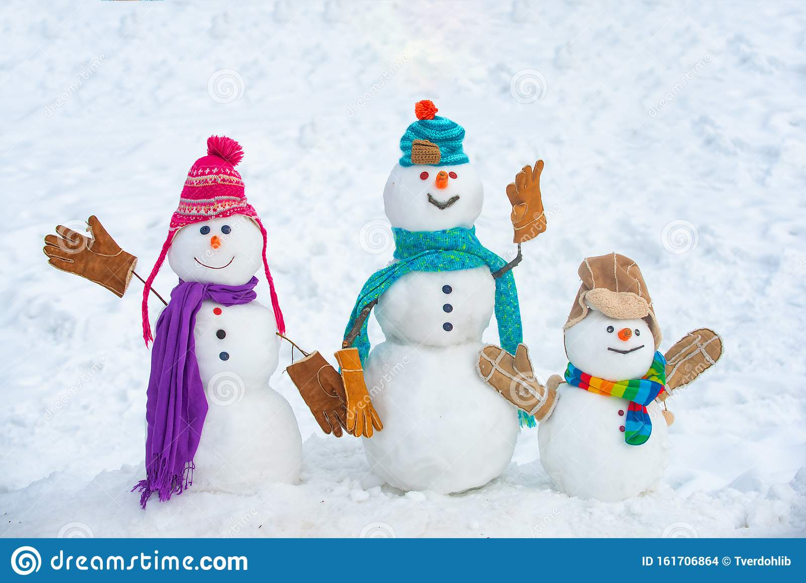 Winter Time Scene Snowmen Christmas Background With