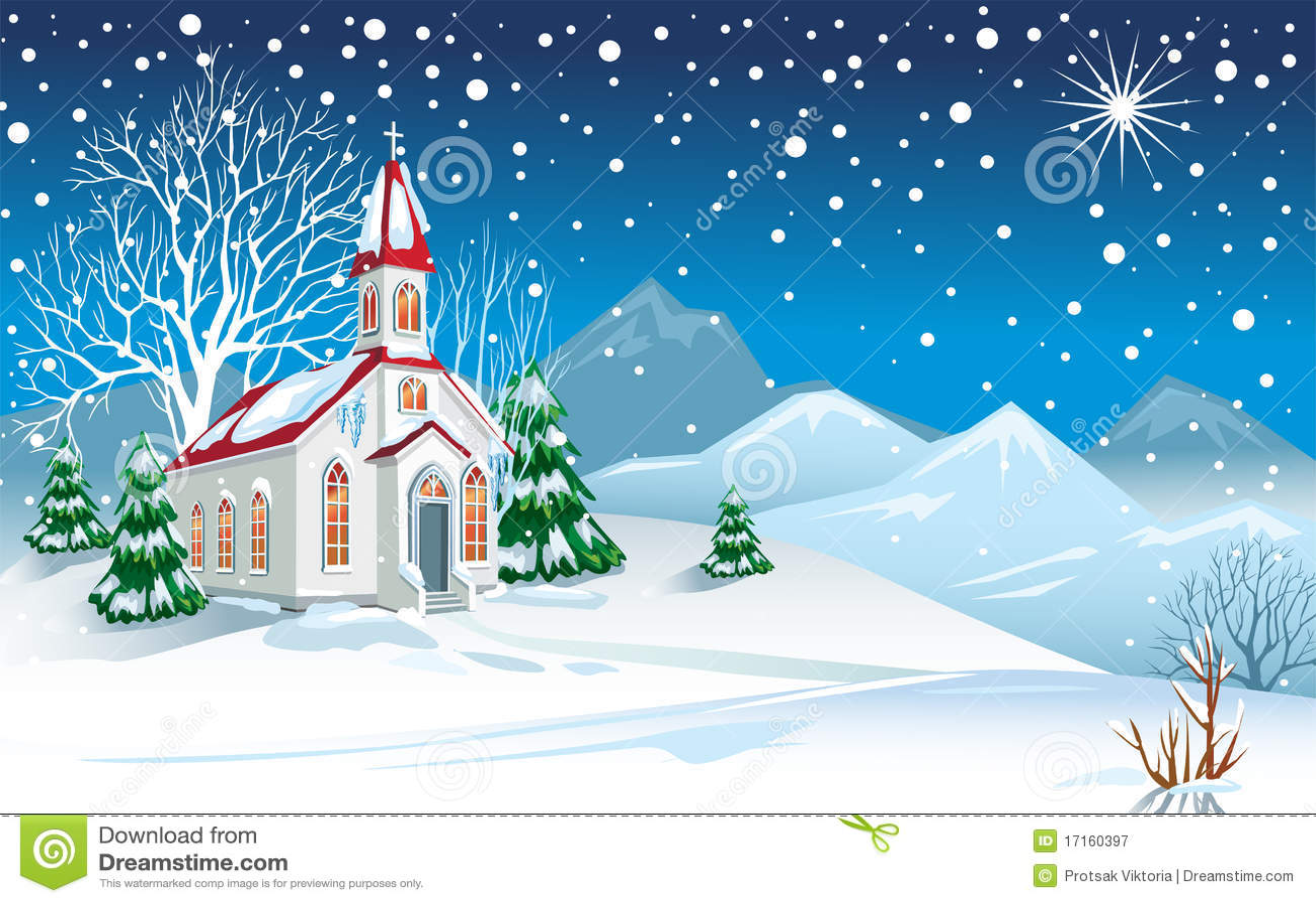 Winterlandschaft Mit Kirche Vektor Abbildung