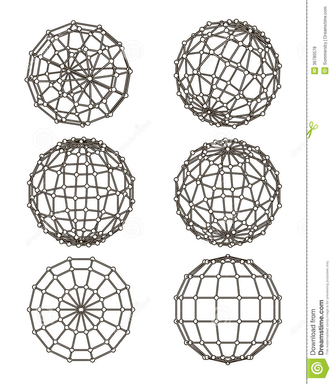Wire Frame Elements In The Form Of Sphere Royalty Free
