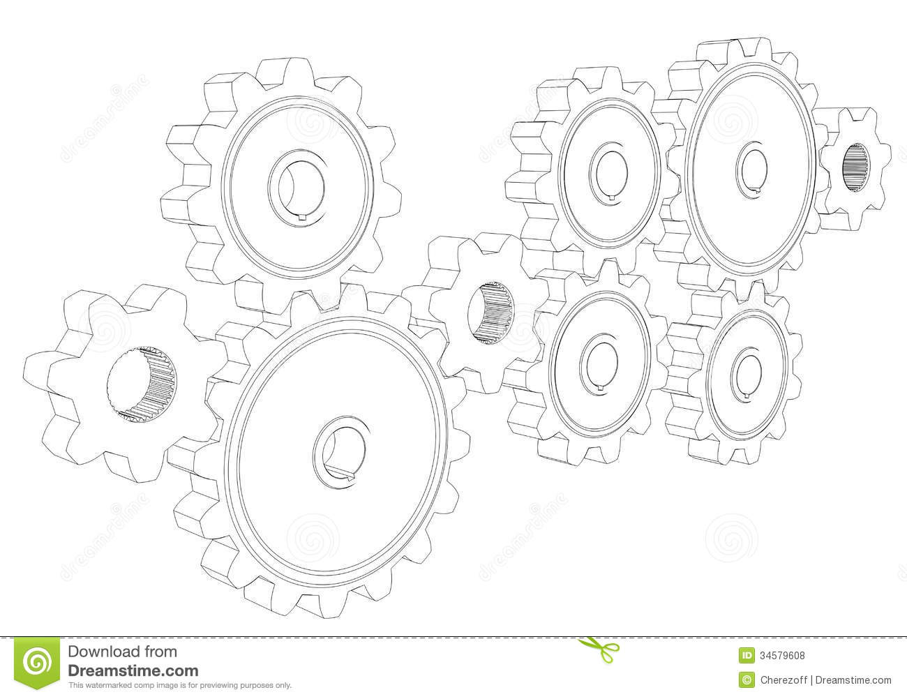 Wire Frame Gears Stock Illustration Illustration Of