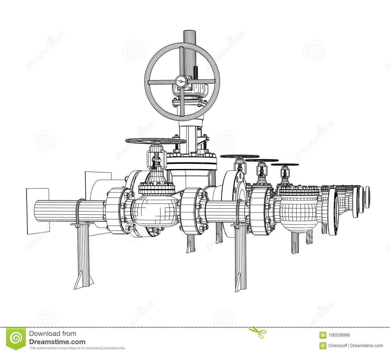 Wire Frame Industrial Valves Stock Vector