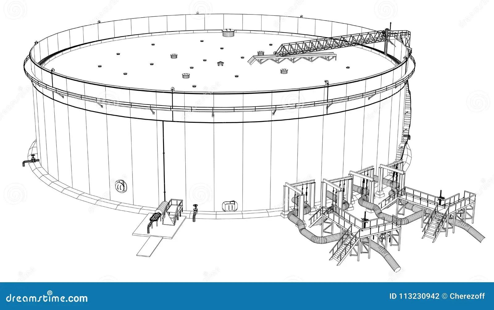 Wire Frame Oil Tank Stock Illustration Illustration Of