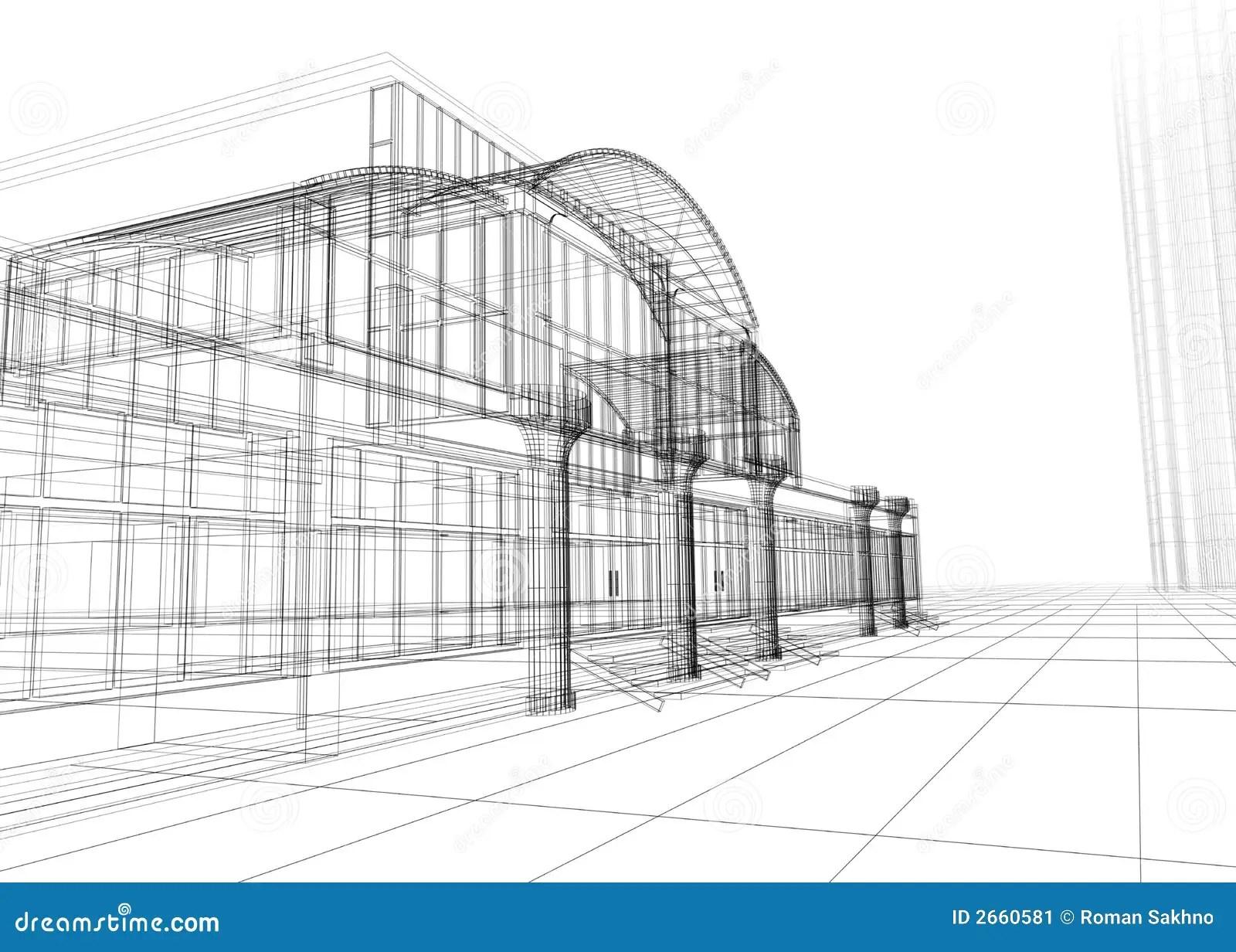 Wireframe Dell Edificio Per Uffici Illustrazione Di Stock