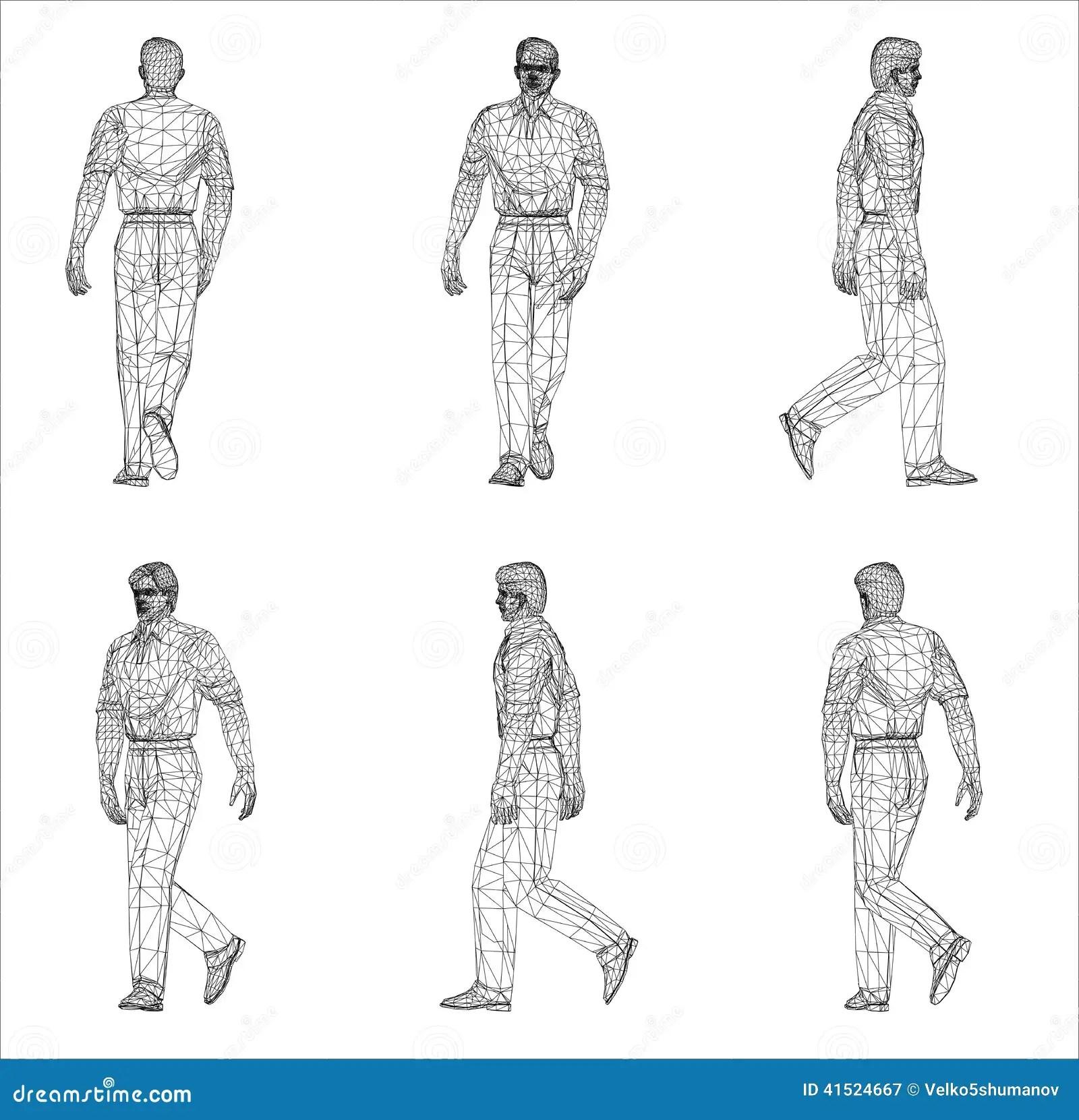 Wireframe Design Of Man Stock Illustration