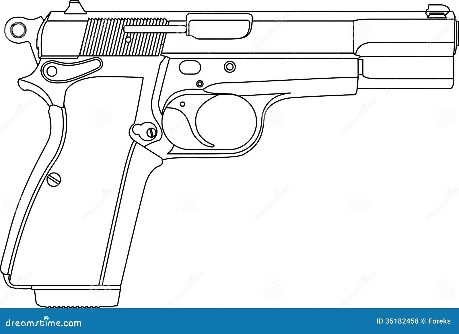 Wireframe Gun Pistol Royalty Free Stock Photos
