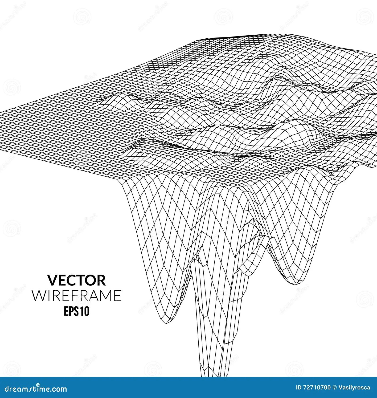 Wireframe Landscape Background Futuristic Landscape With
