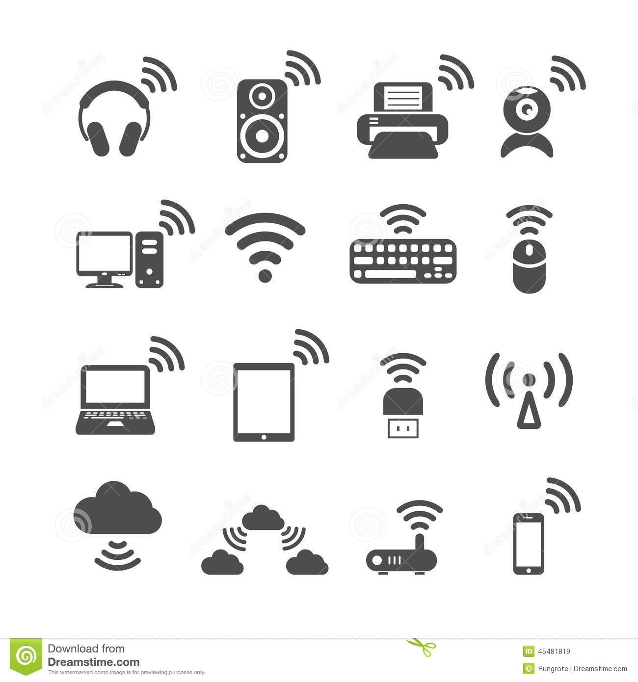 Wireless Technology Computer Icon Set Vector Eps10 Stock