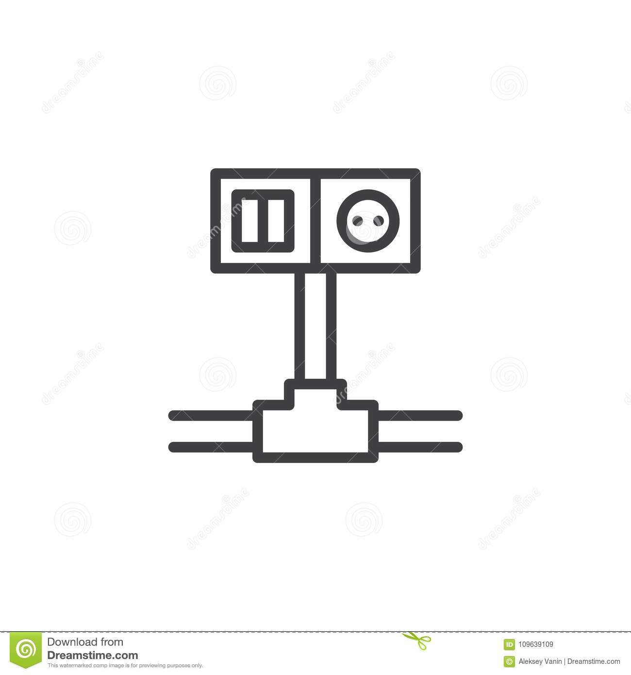 Wiring Switch And Socket Line Icon Stock Vector