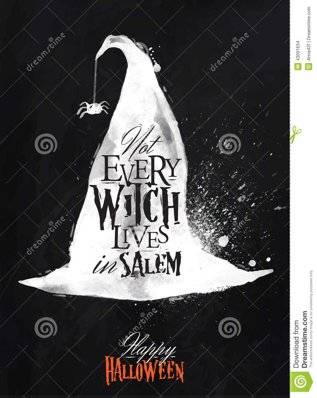 Witch Hat Halloween Poster Chalk Stock Vector