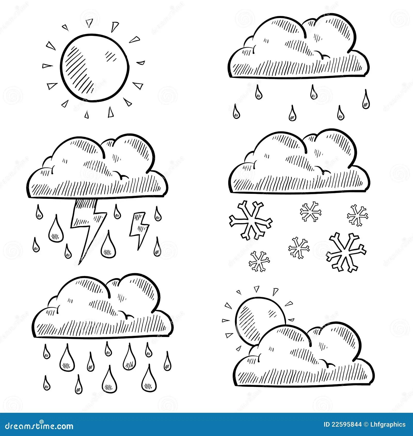 Wolken Und Wetterskizze Vektor Abbildung Bild Von
