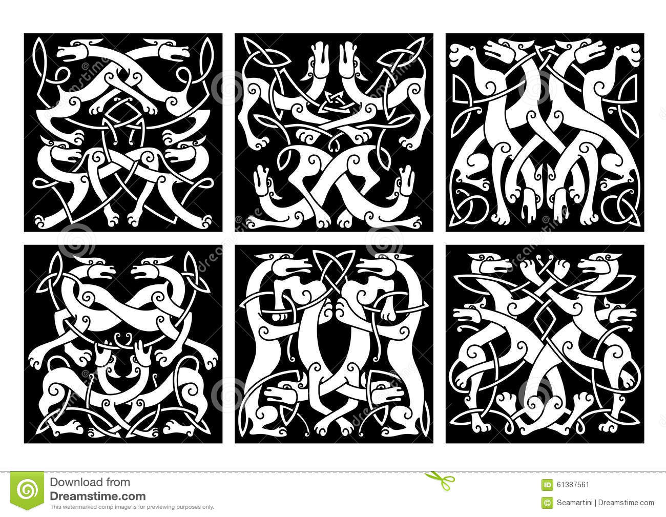 Wolves Or Dogs Patterns With Celtic Ornament Stock Vector