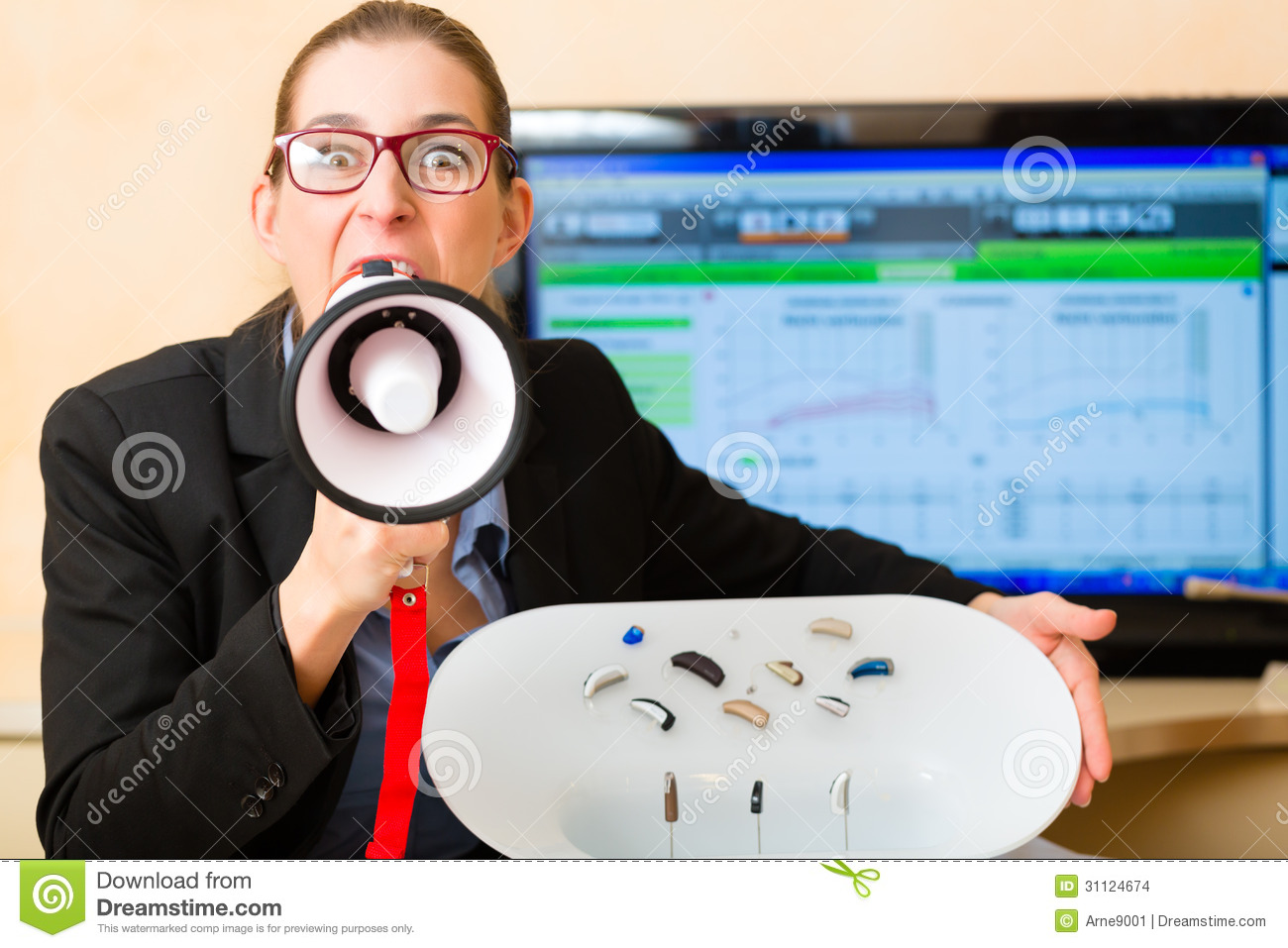 Woman Advertising A Hearing Test Stock Images