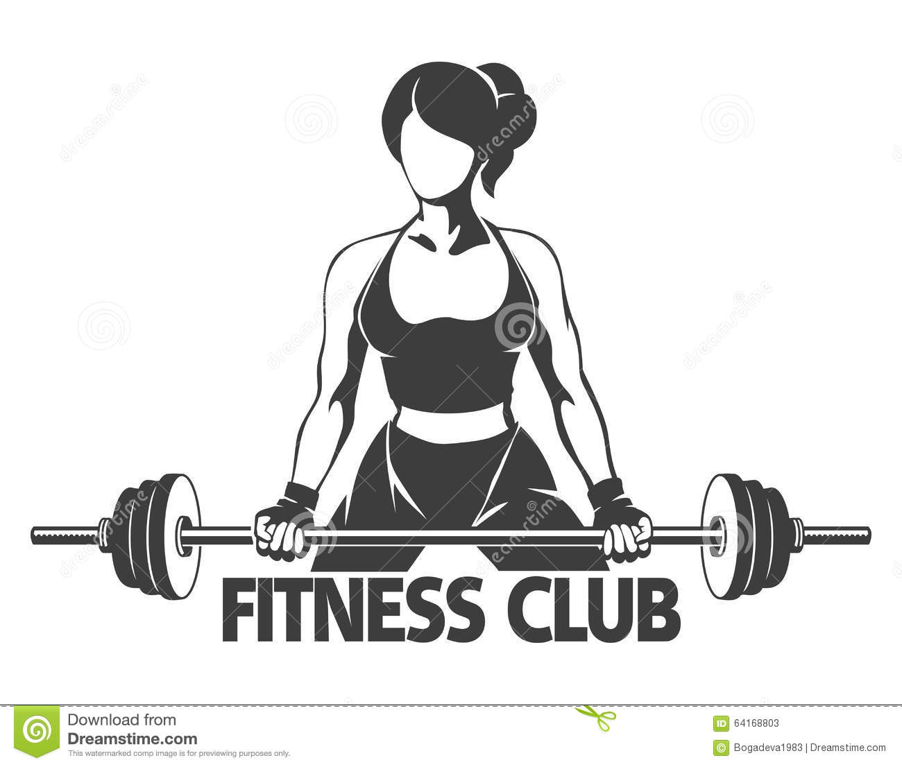 Woman With Barbell Fitness Emblem Stock Vector