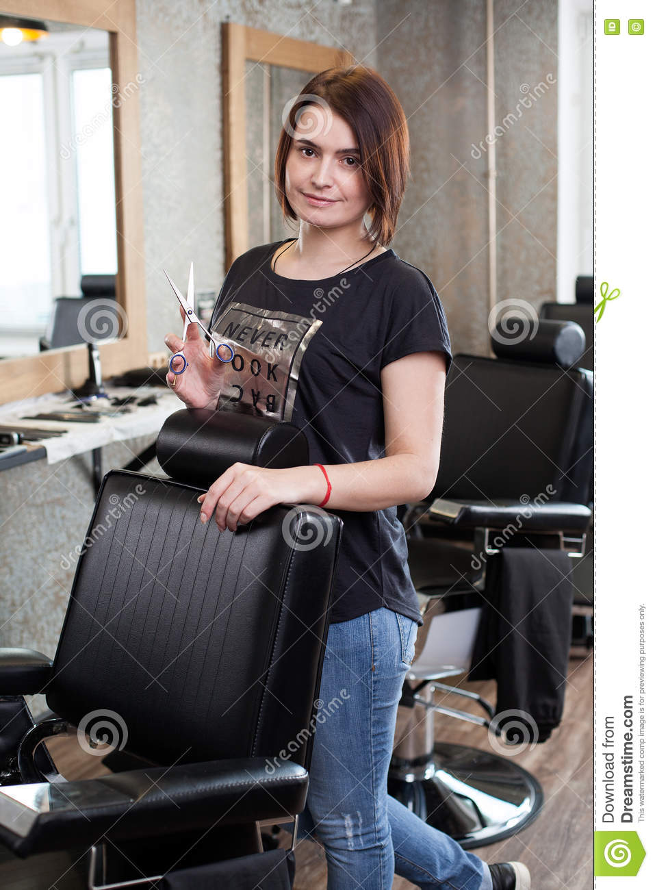 Woman Barber With Scissors At Work Stock Photo Image Of