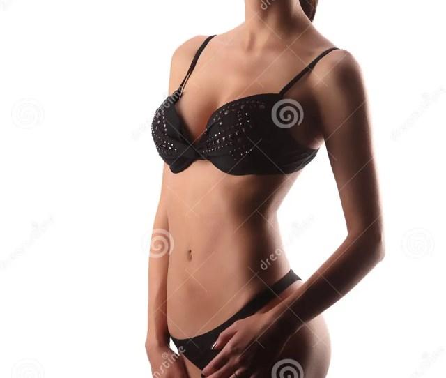 Woman In Black Lingerie Isolated On White Background Slim Girl Posing In Studio