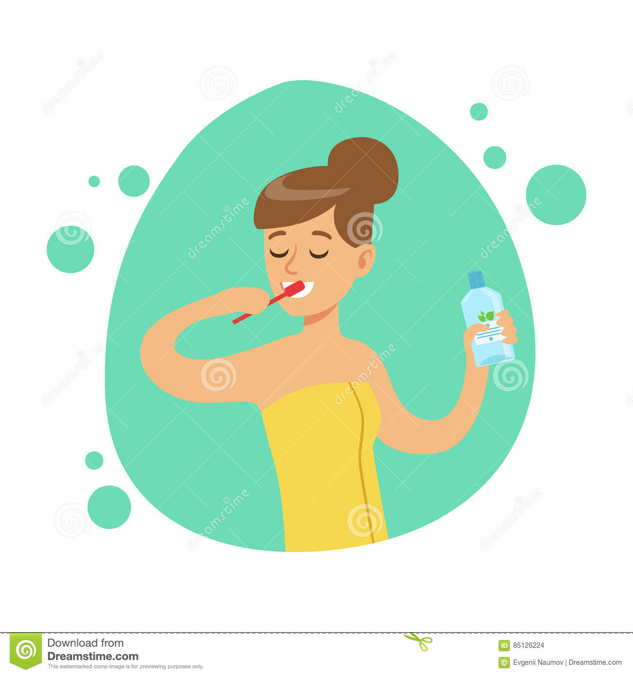 Woman Brushing Teeth Part Of People In The Bathroom Doing Their Routine Hygiene Procedures