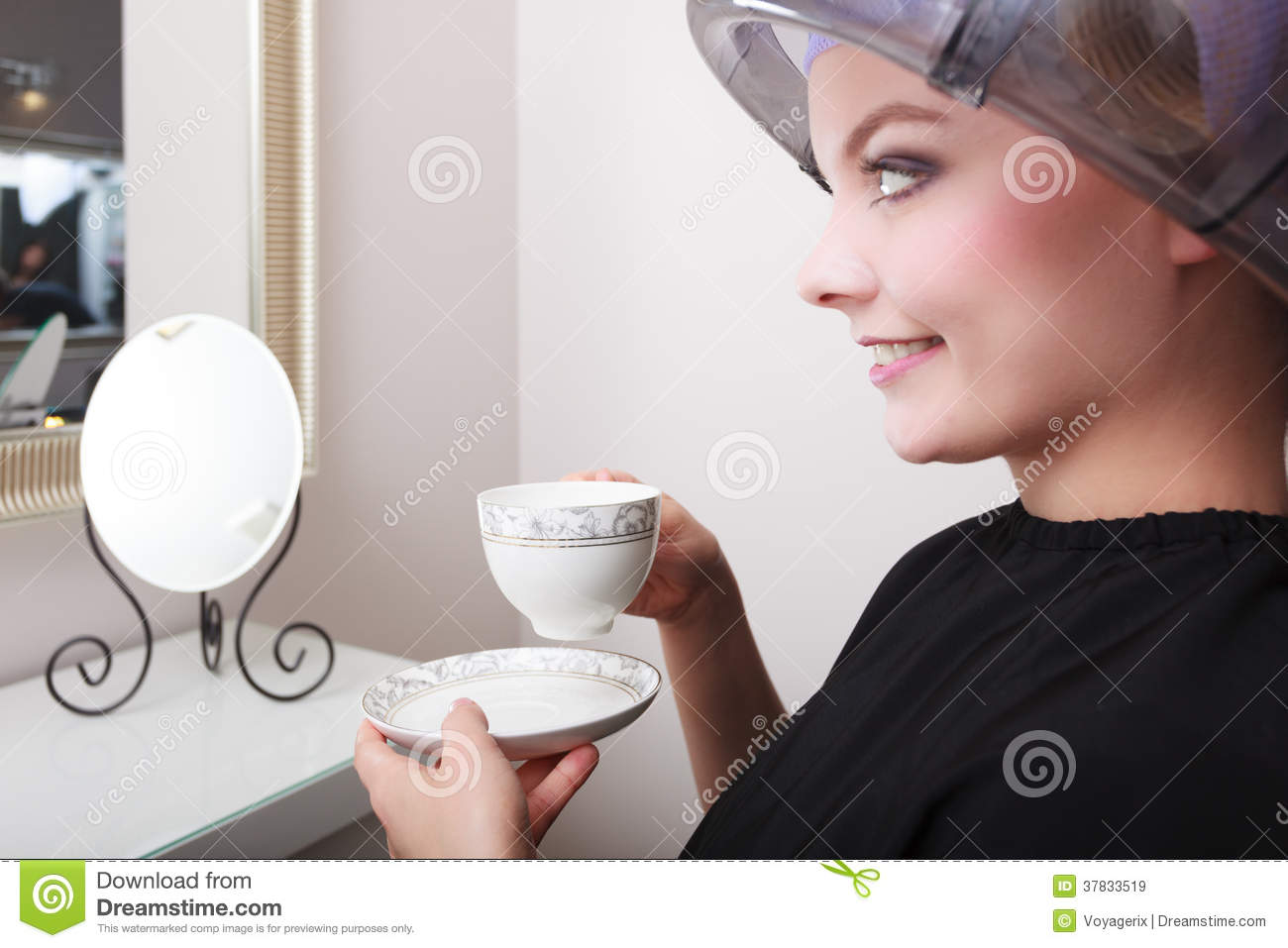Woman Client Drinking Coffee Tea In Hairdressing Salon