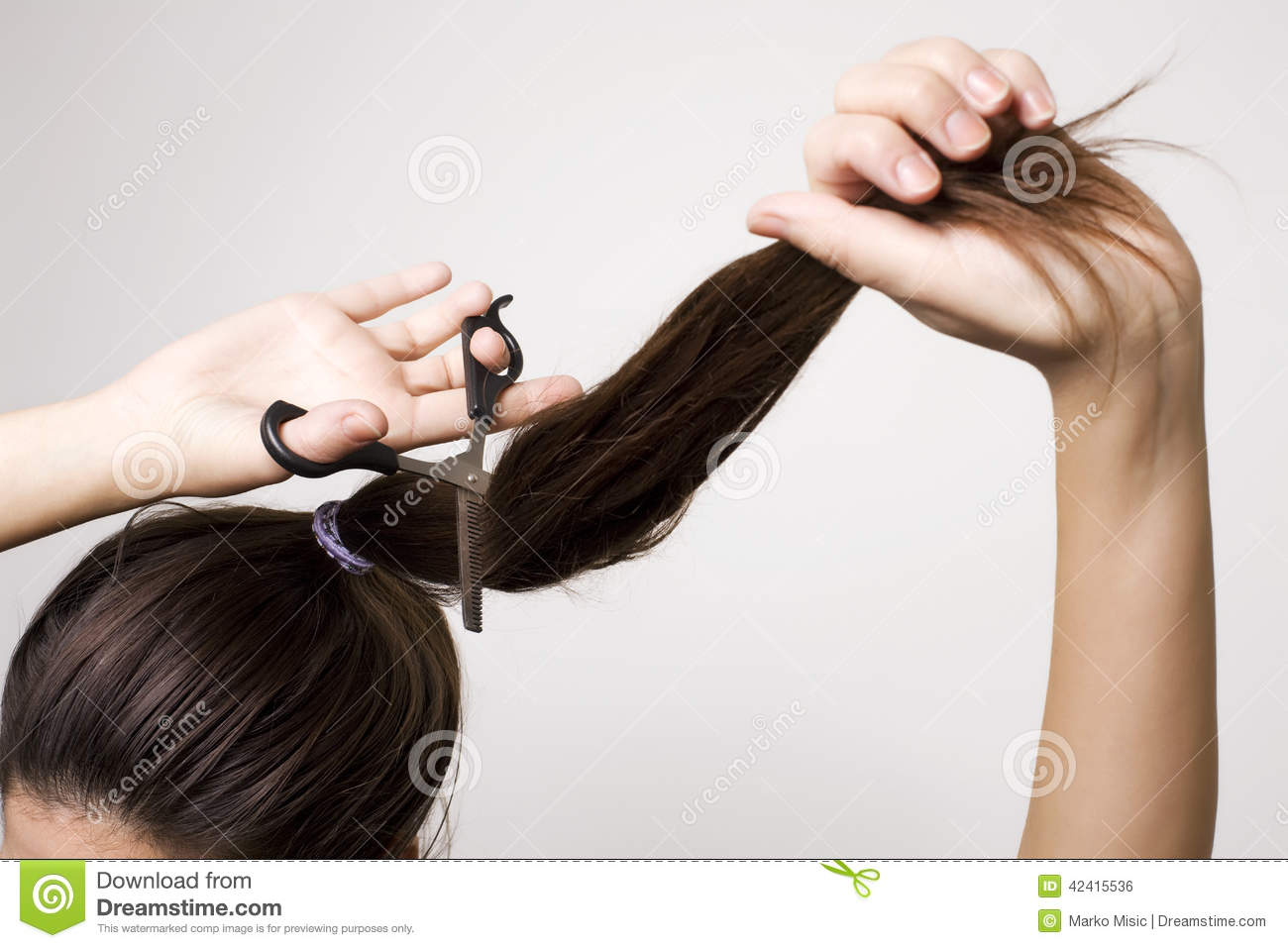 Woman Cutting Her Ponytail Stock Photo Image Of Problems