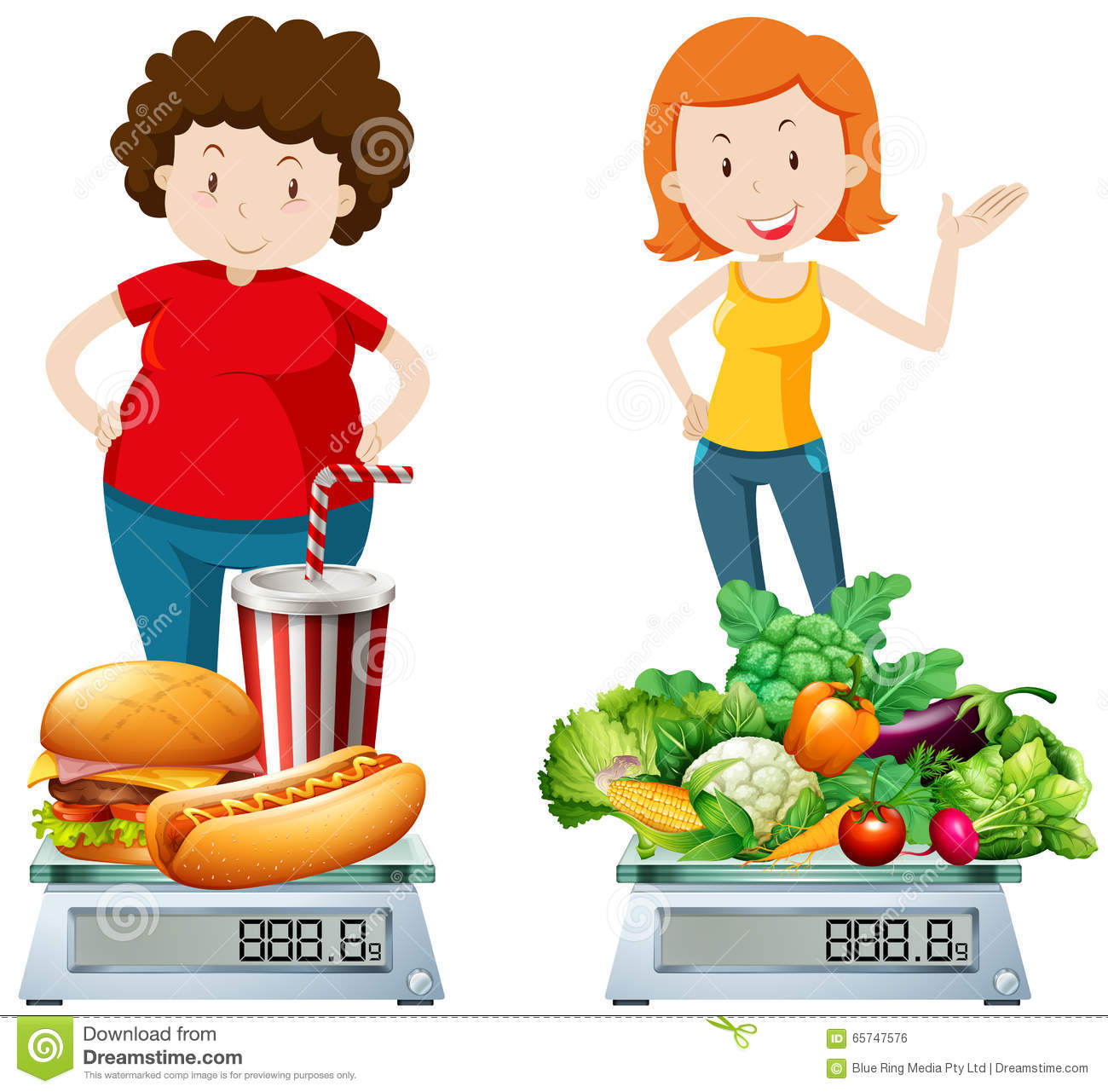 Woman Eating Healthy And Unhealthy Food Stock Vector