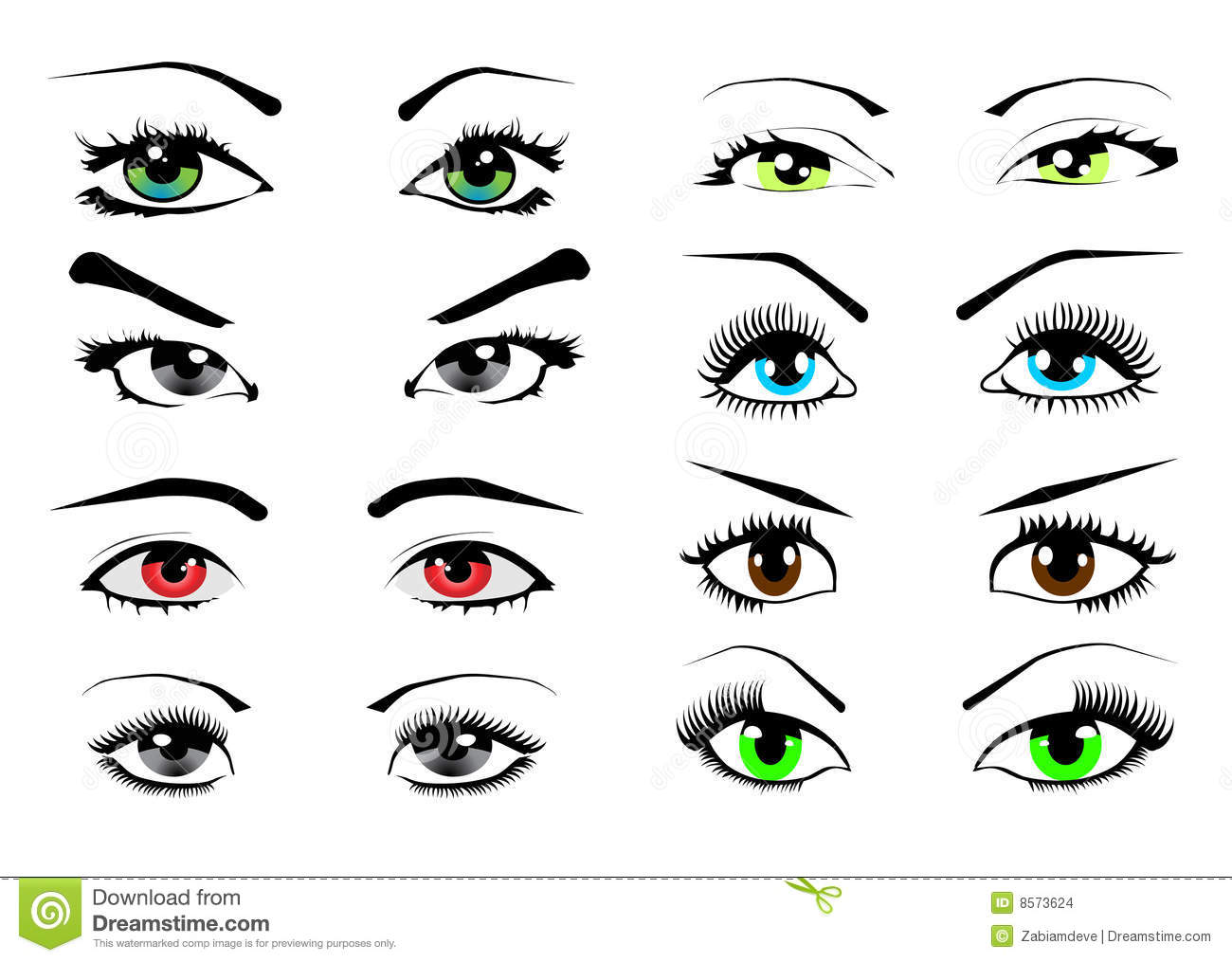 Woman Eyes Collection Vector Illustration Stock Images