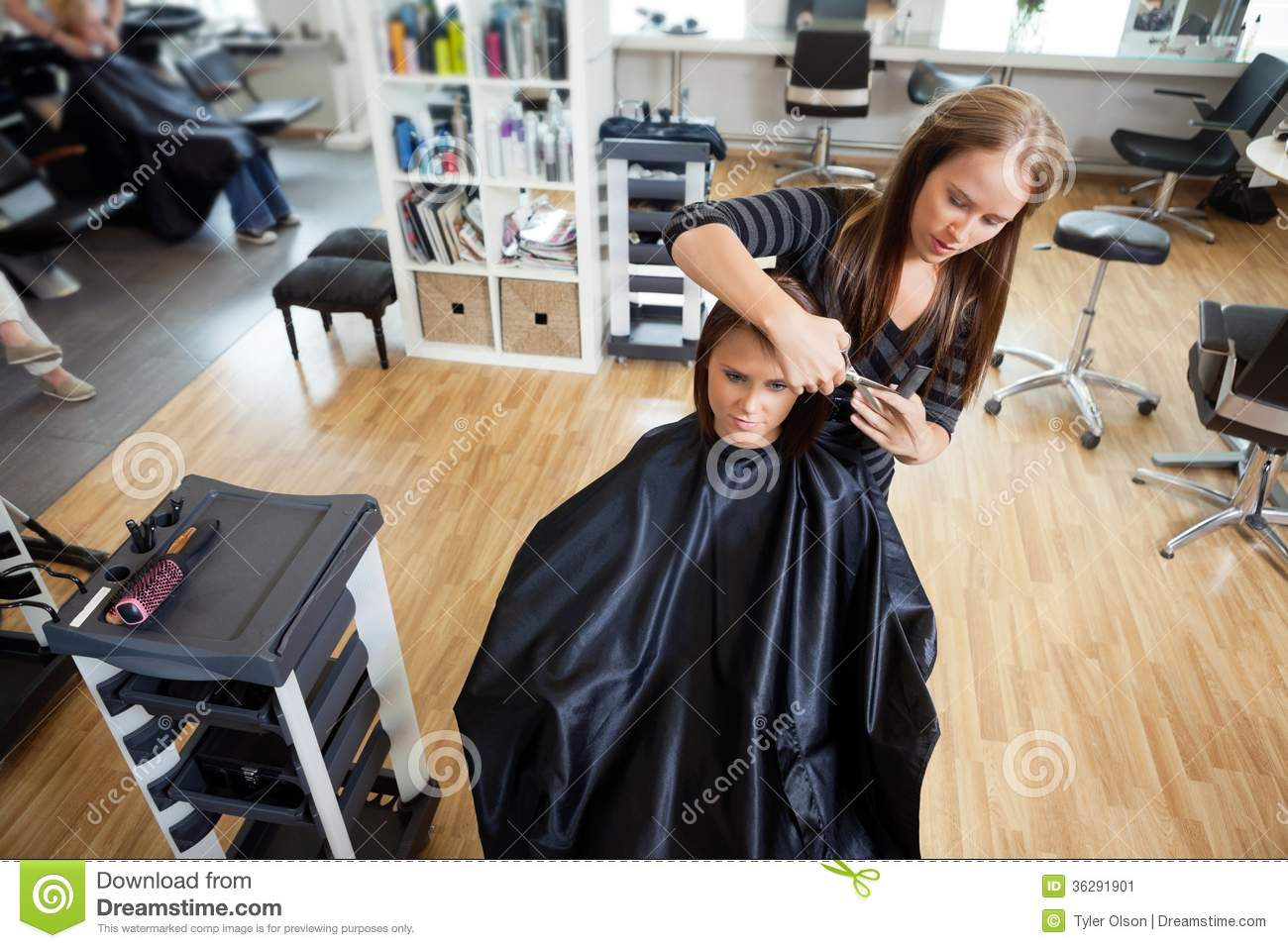 Woman Getting A Hair Cut Stock Image Image 36291901