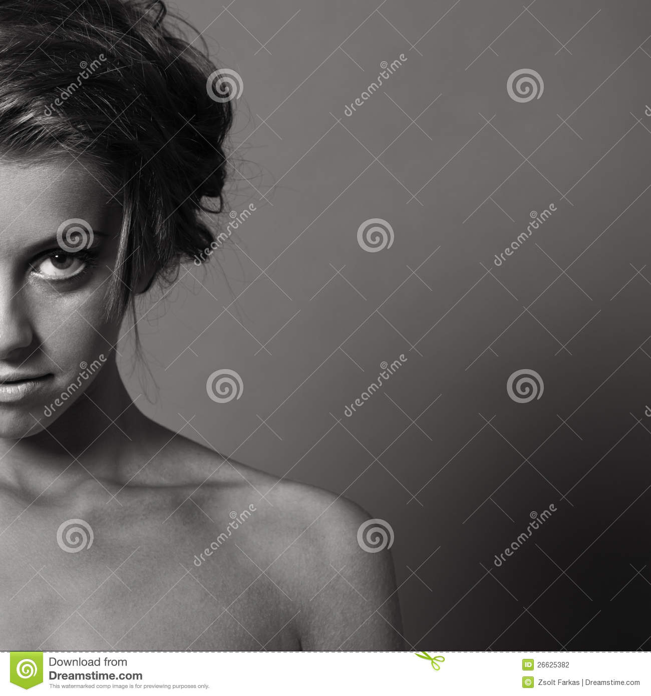 Woman Half Face Portrait Stock Photography