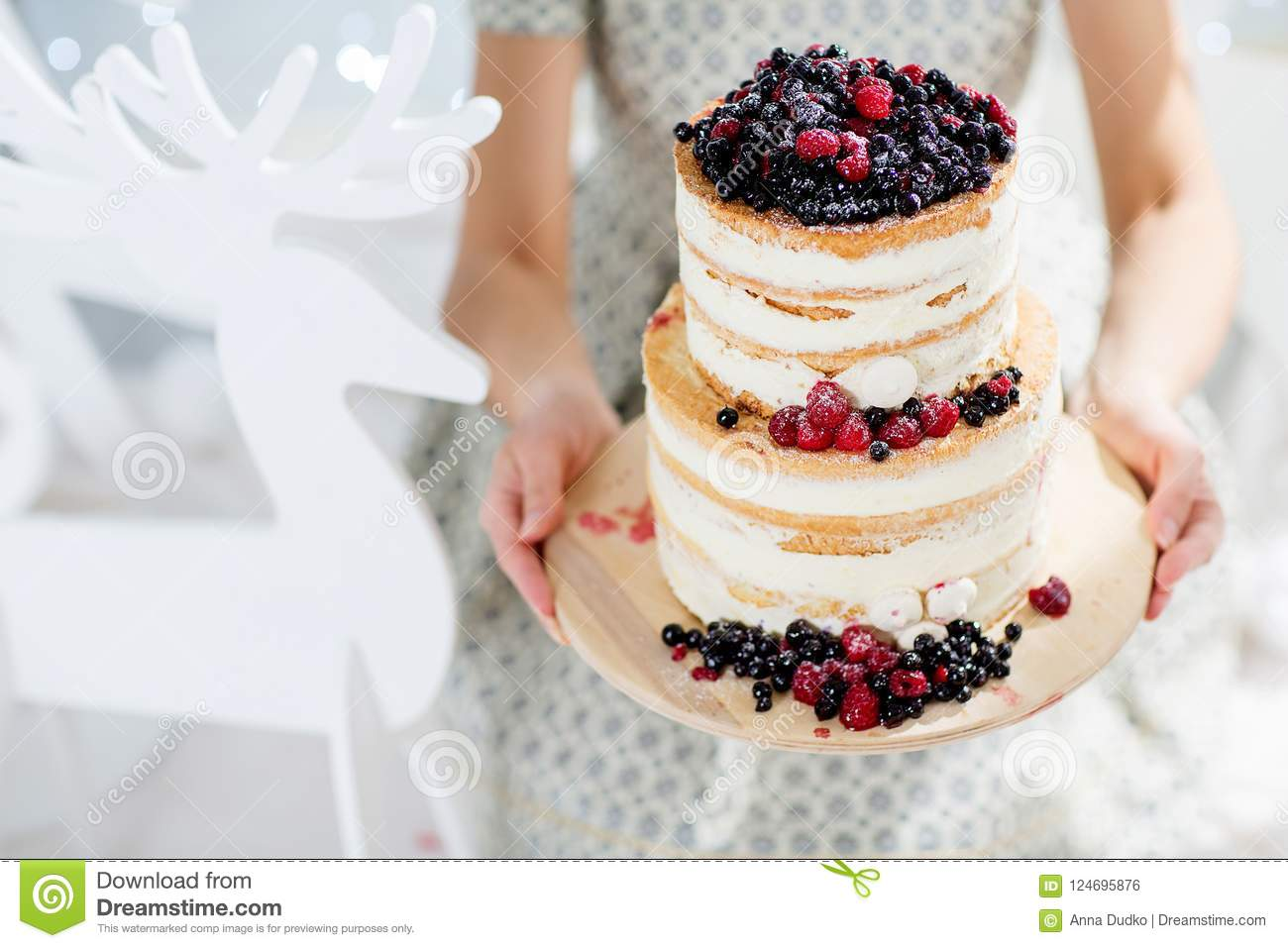 Woman Holding A Birthday Cake Stock Photo Image Of Woman Design 124695876